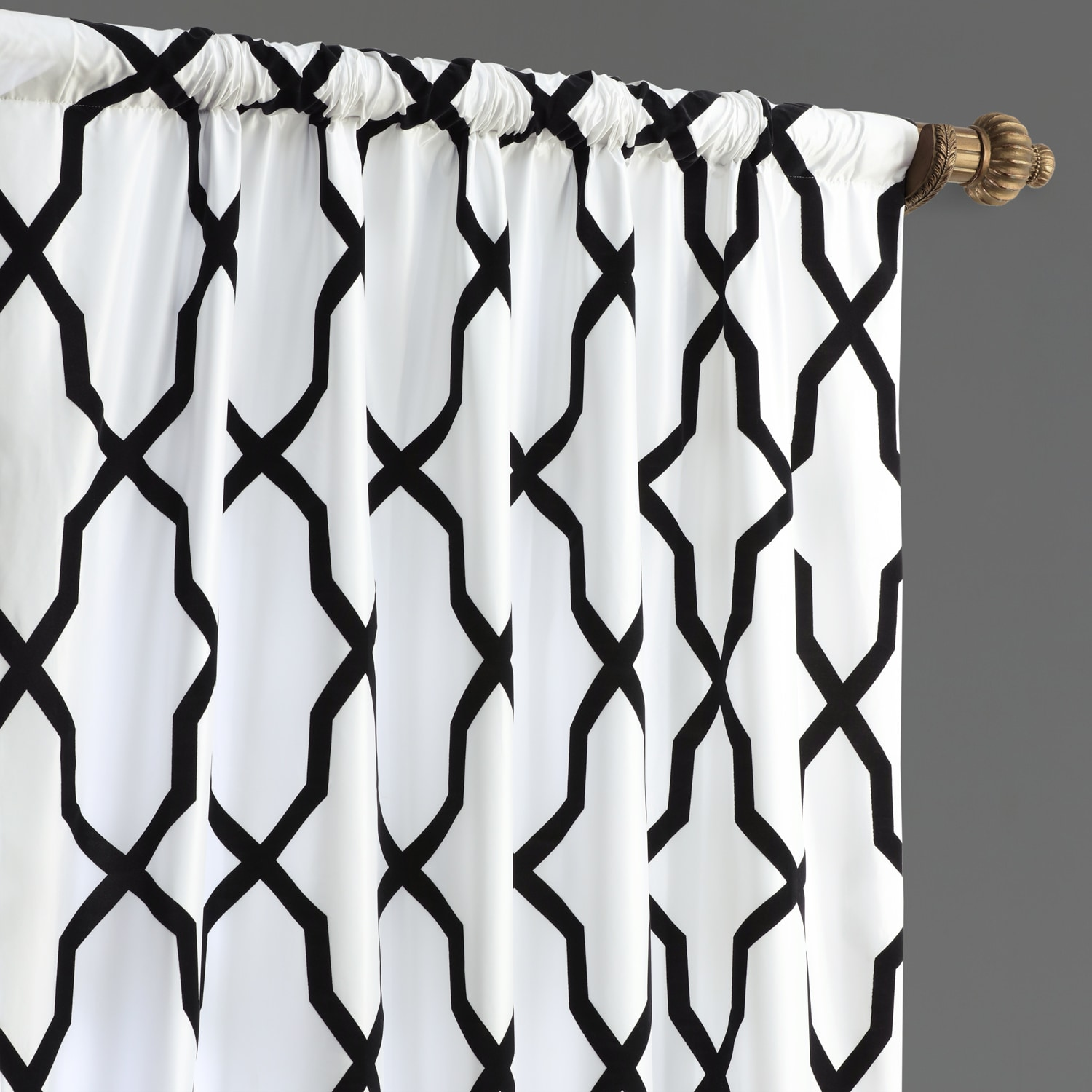 Pinnacle White & Black Flocked Faux Silk Curtain