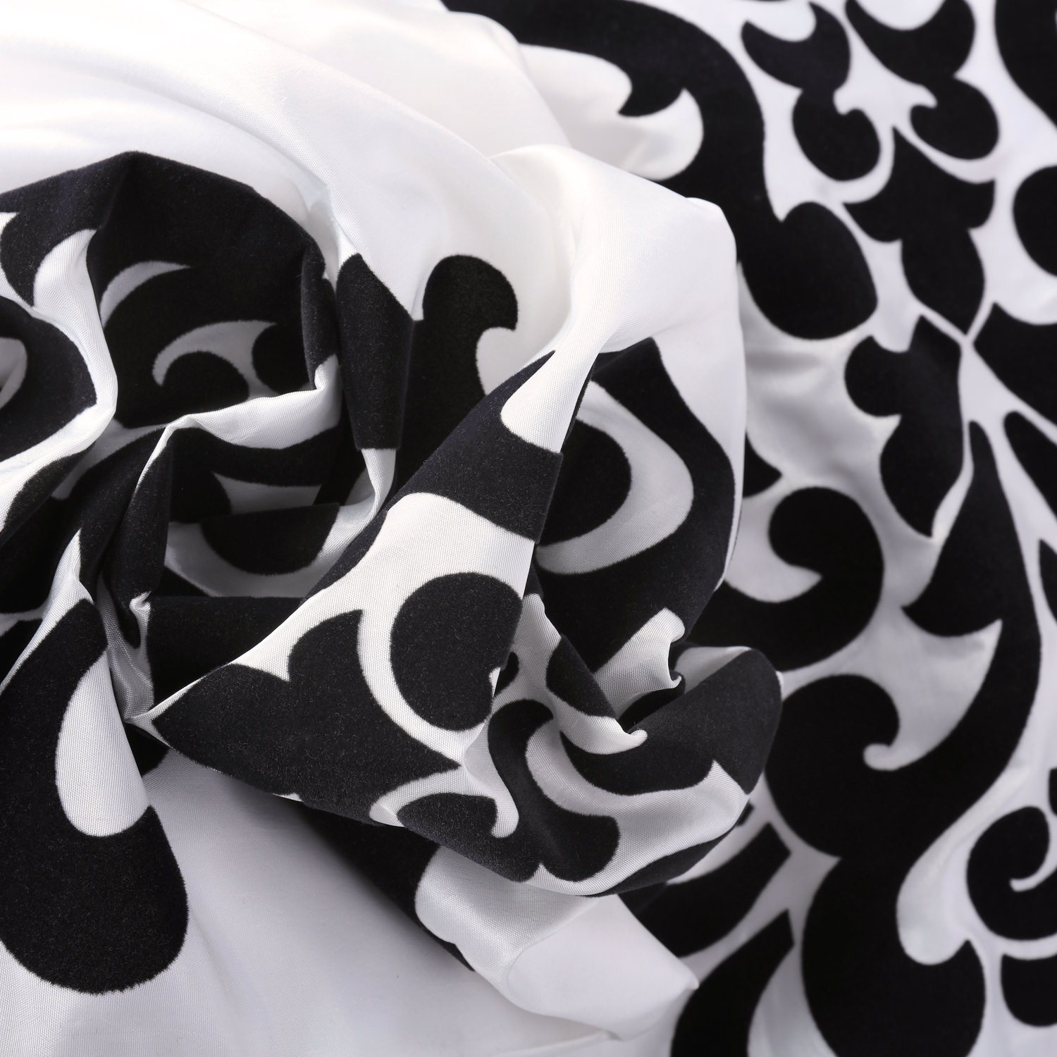 Castle White & Black Designer Flocked Fabric