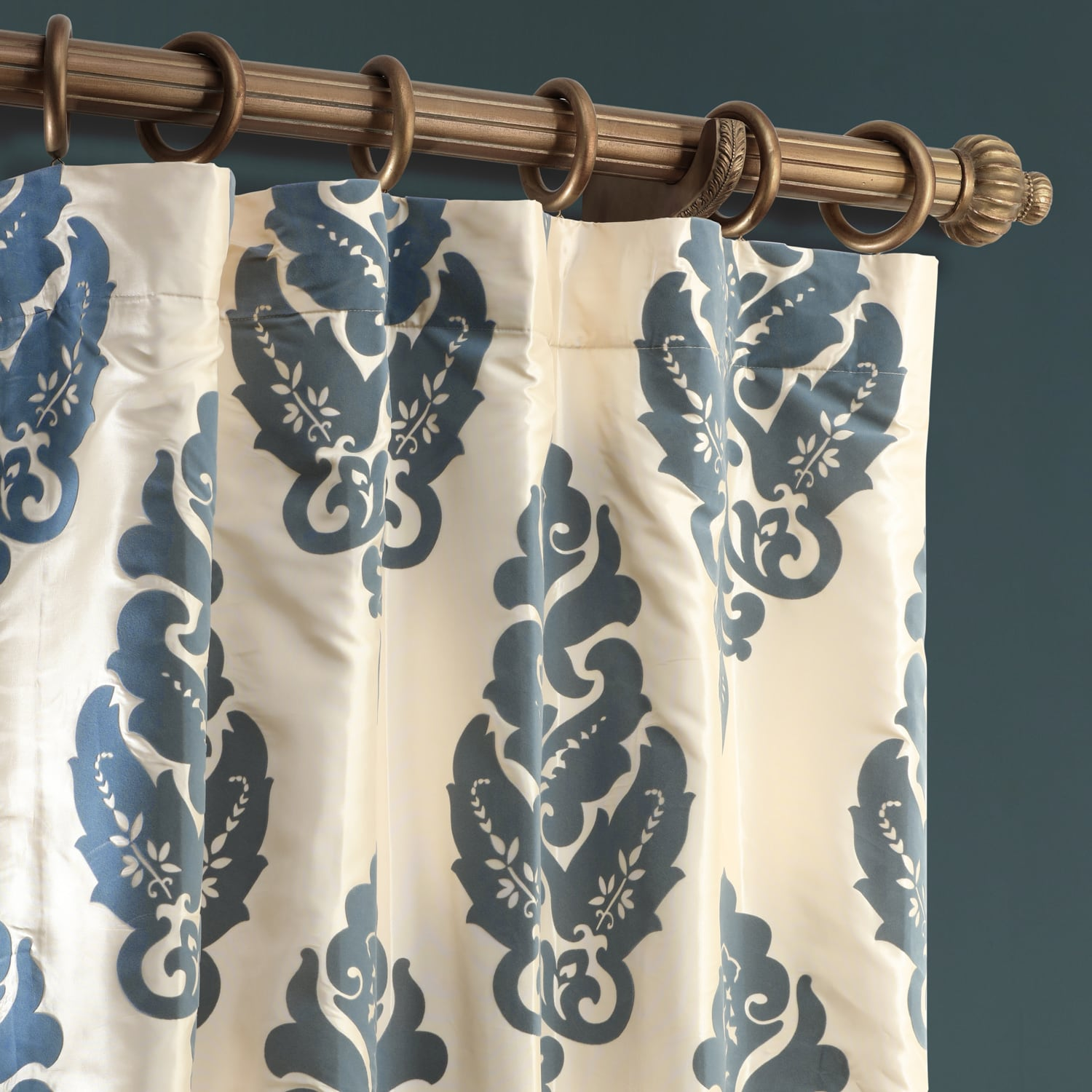 Francesca Grey & Blue Designer Flocked Curtain