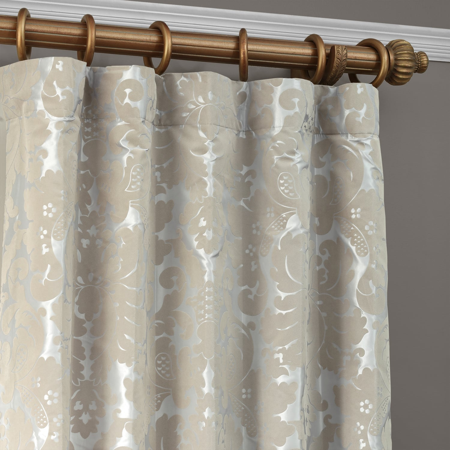 Gwendolyn Grey & Gold Designer Flocked Curtain