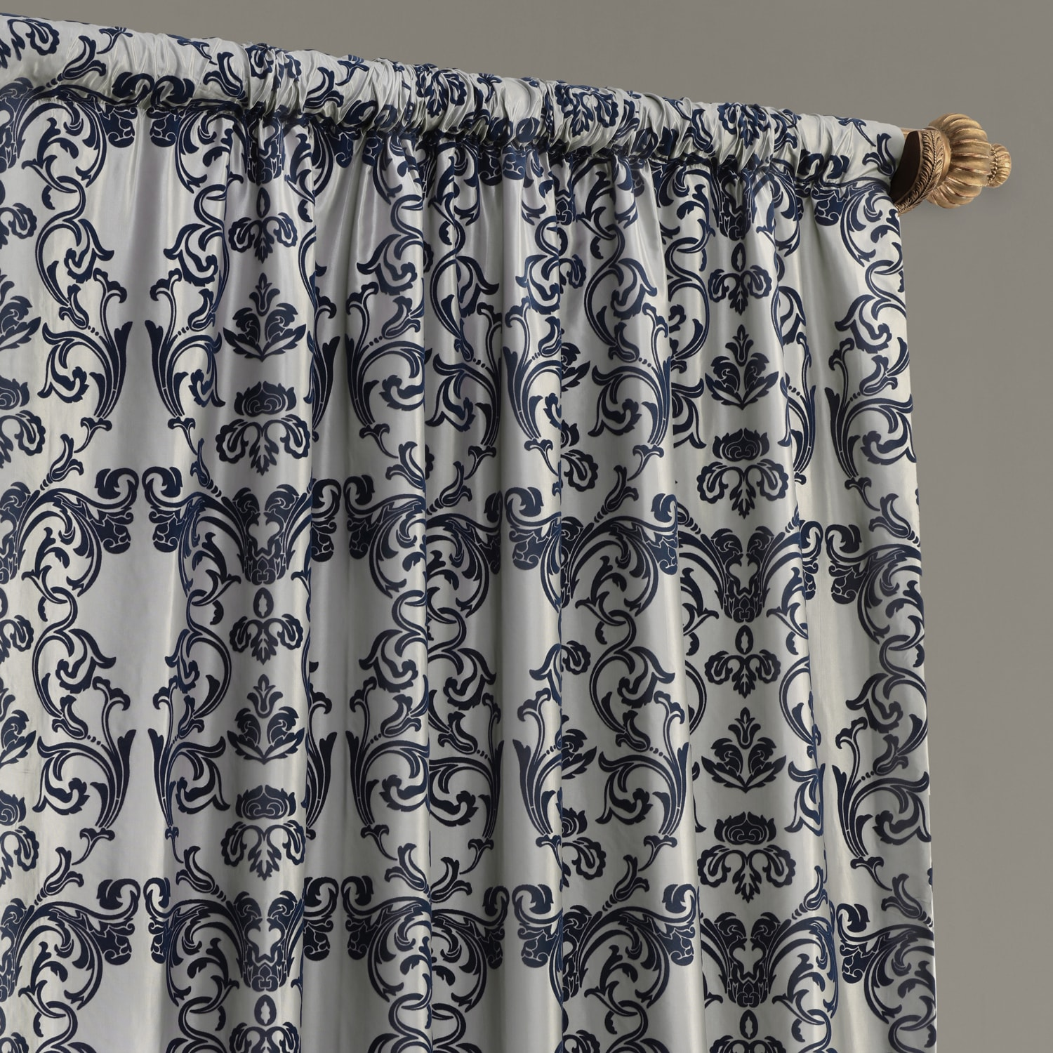 Firenze Silver & Blue Flocked Faux Silk Curtain