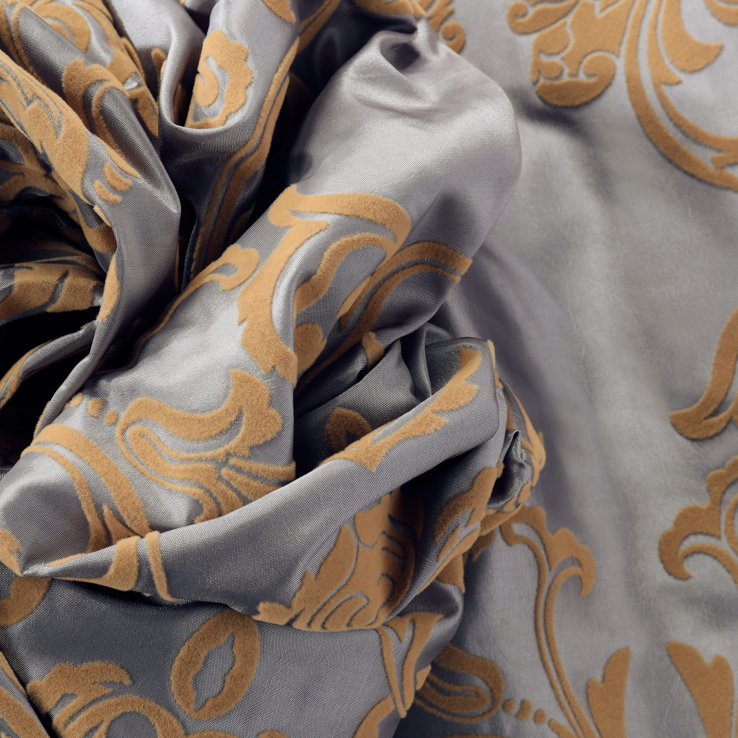 Firenze Silver & Gold Flocked Faux Silk Swatch