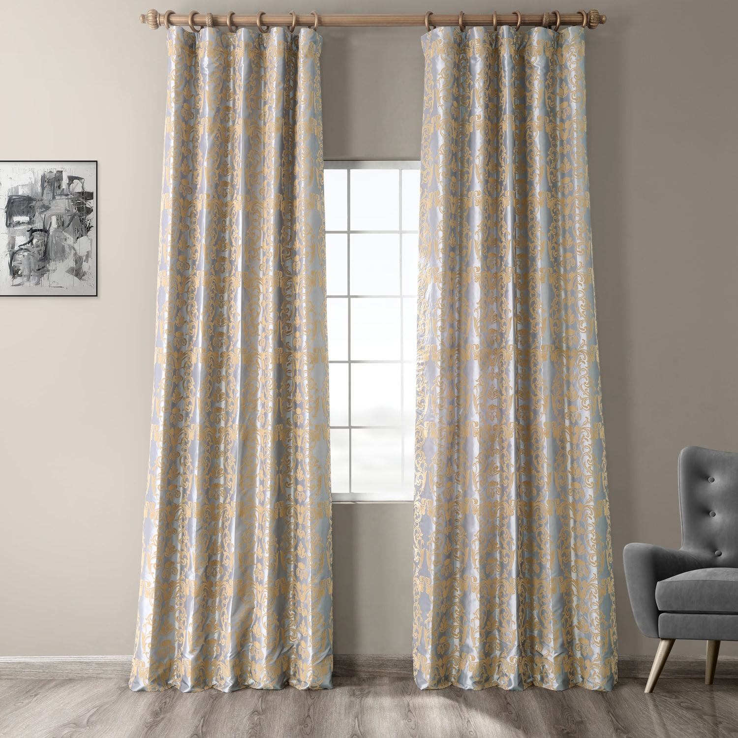 Firenze Silver & Gold Flocked Faux Silk Curtain