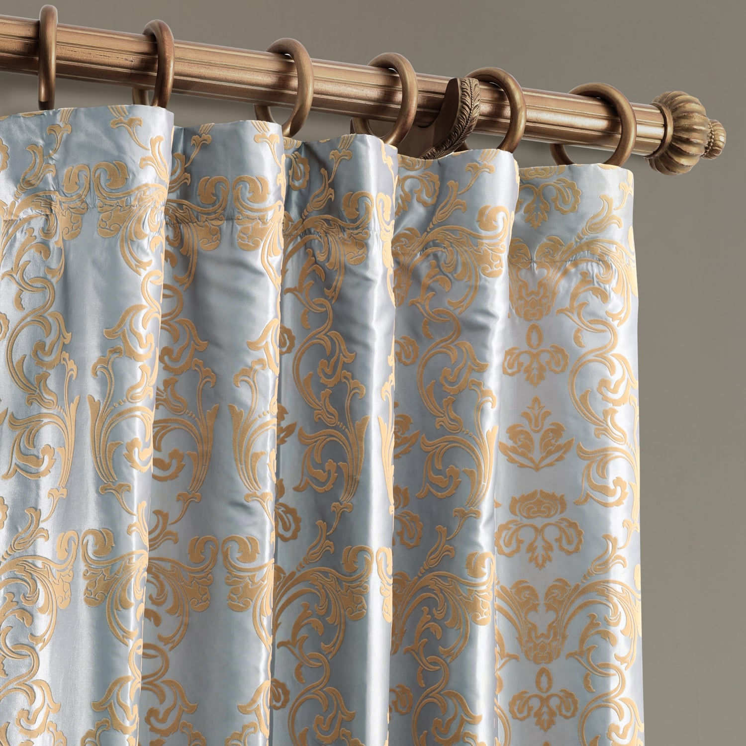 Firenze Silver Amp Gold Flocked Faux Silk Curtain