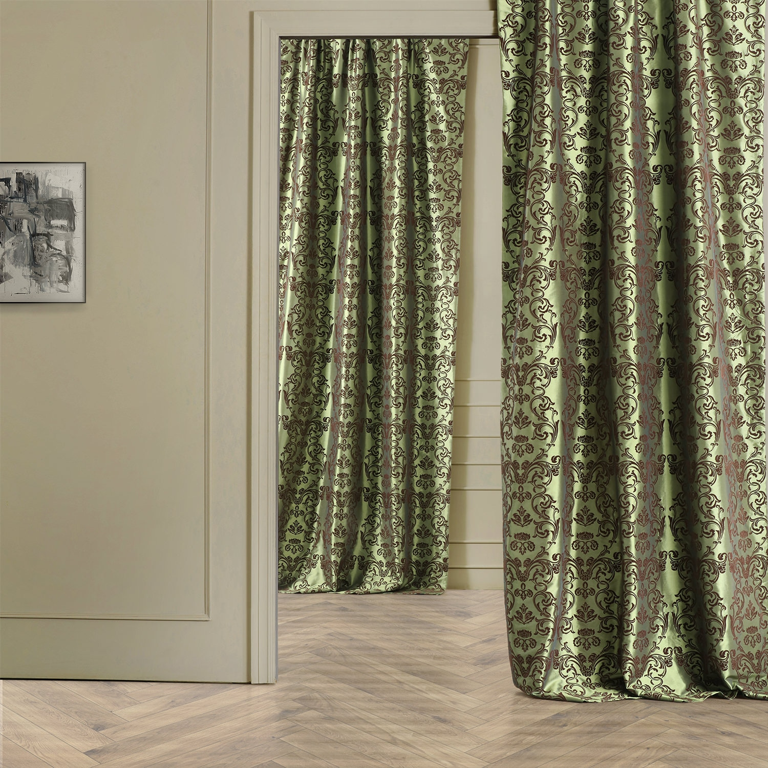 Firenze Green & Brown Designer Flocked Curtain