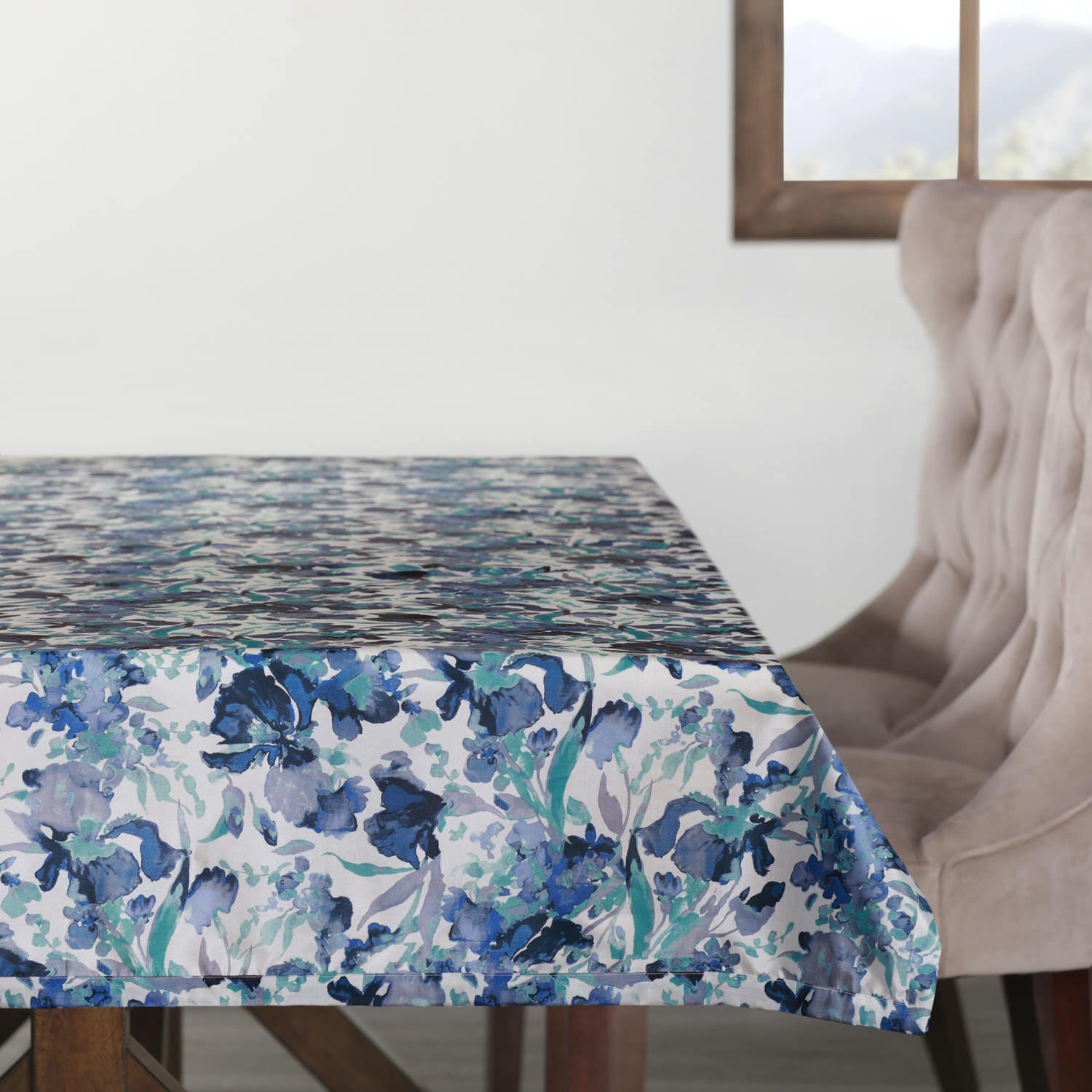 Watercolor Turquoise Designer Faux Silk Taffeta Outdoor Table Cloth