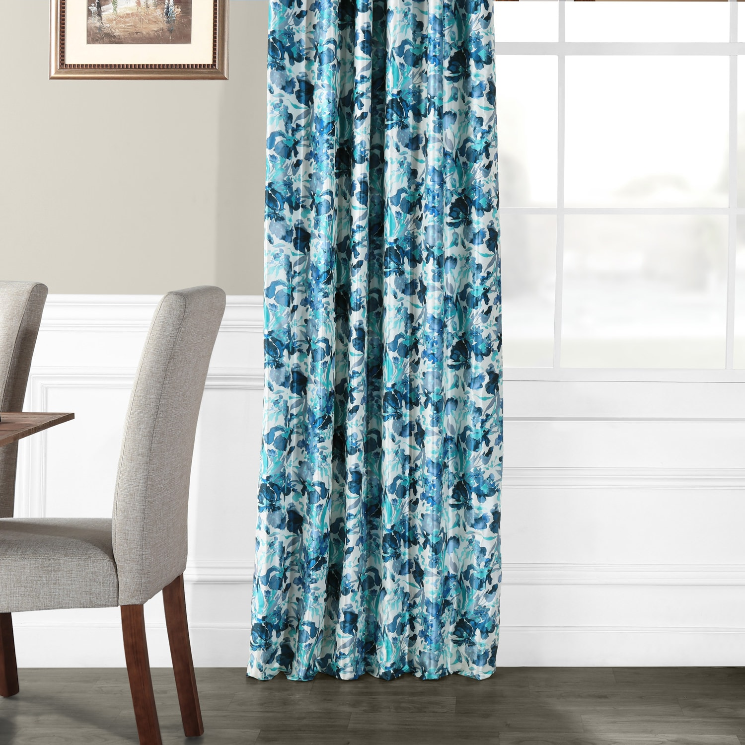 Watercolor Turquoise Printed Faux Silk Taffeta Blackout Curtain