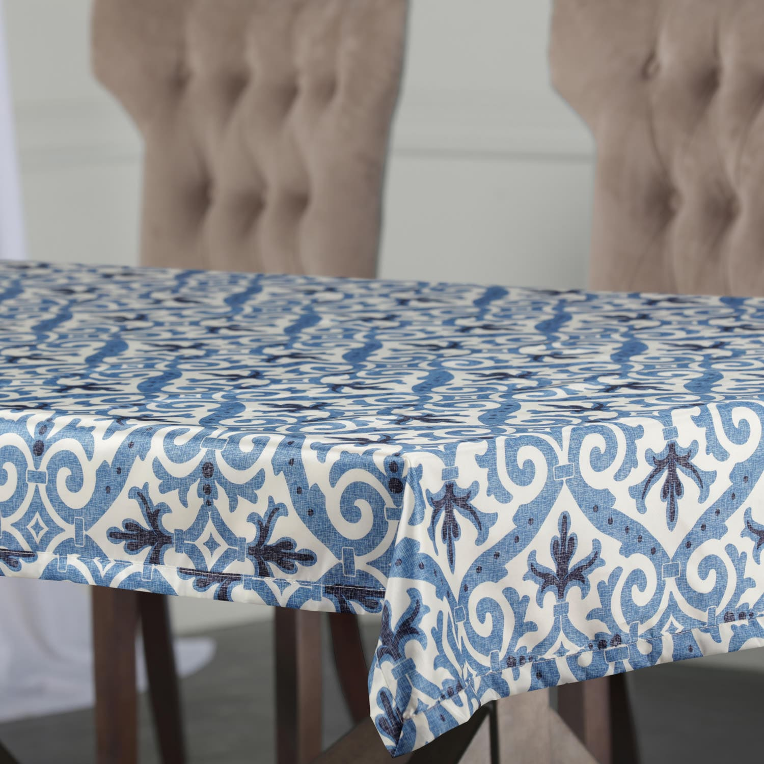 Iron Gate Blue Designer Faux Silk Taffeta Outdoor Table Cloth
