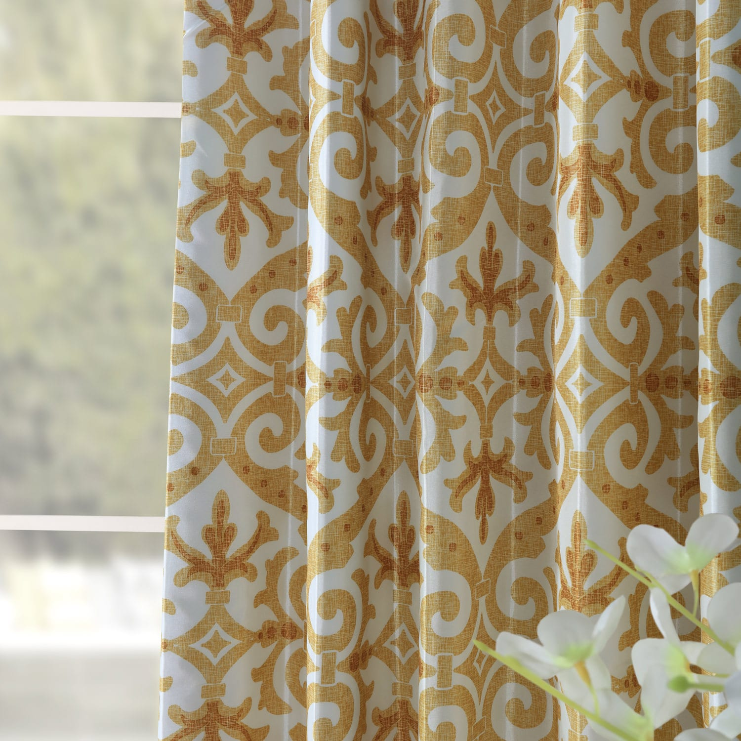 Iron Gate Gold Printed Faux Silk Taffeta Blackout Curtain