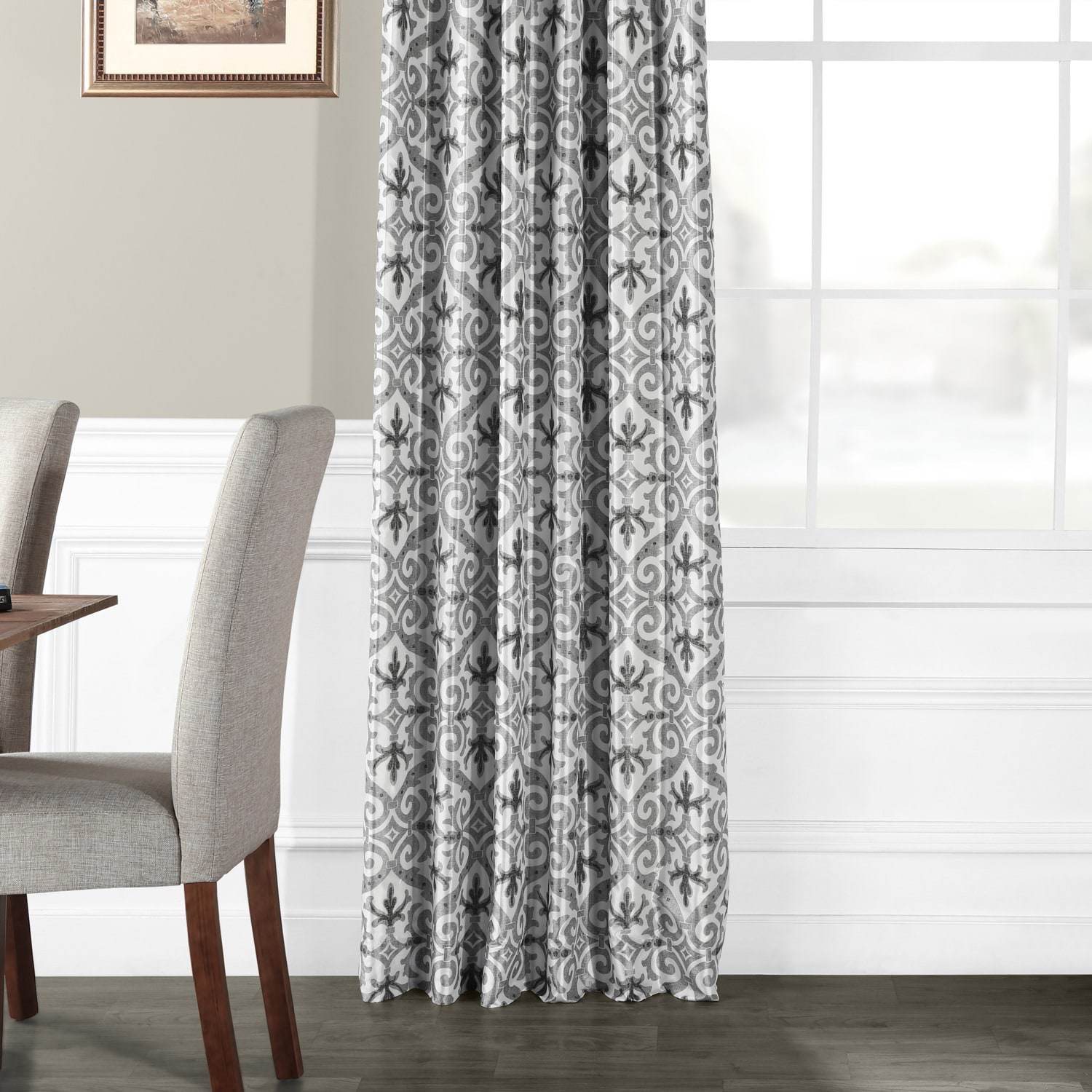 Iron Gate Grey Printed Faux Silk Taffeta Blackout Curtain
