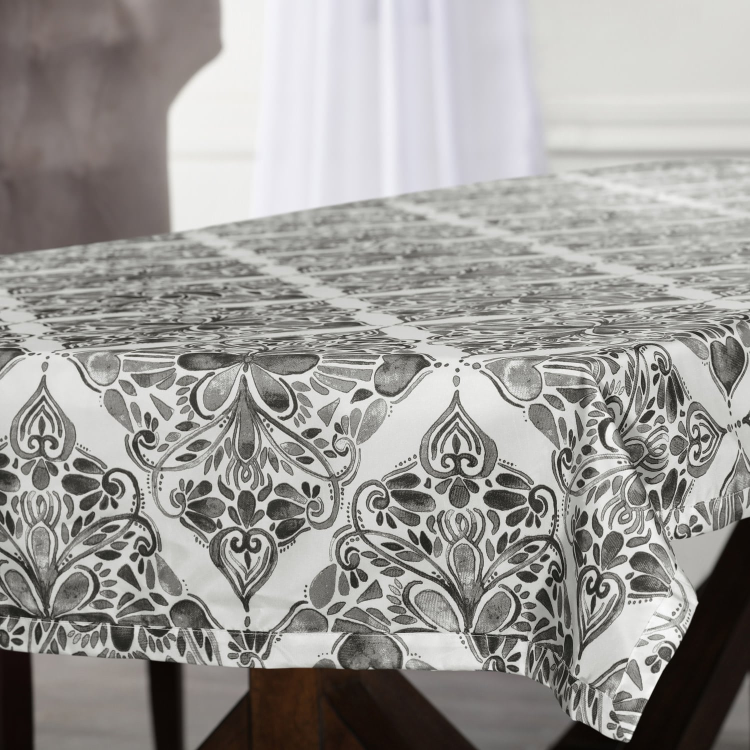 Tiera Grey Designer Faux Silk Taffeta Outdoor Table Cloth