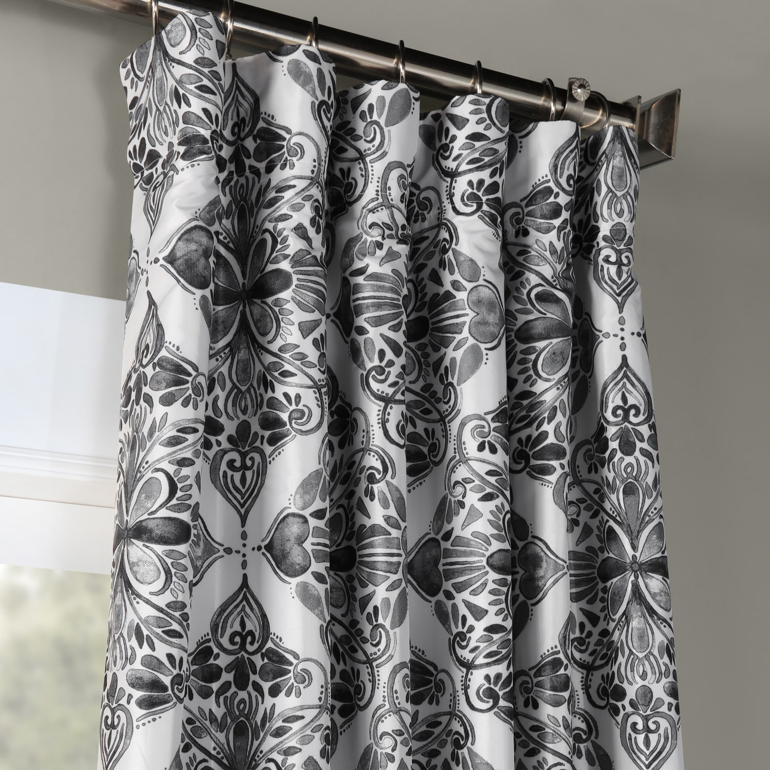 Tiera Grey Printed Faux Silk Taffeta Blackout Curtain