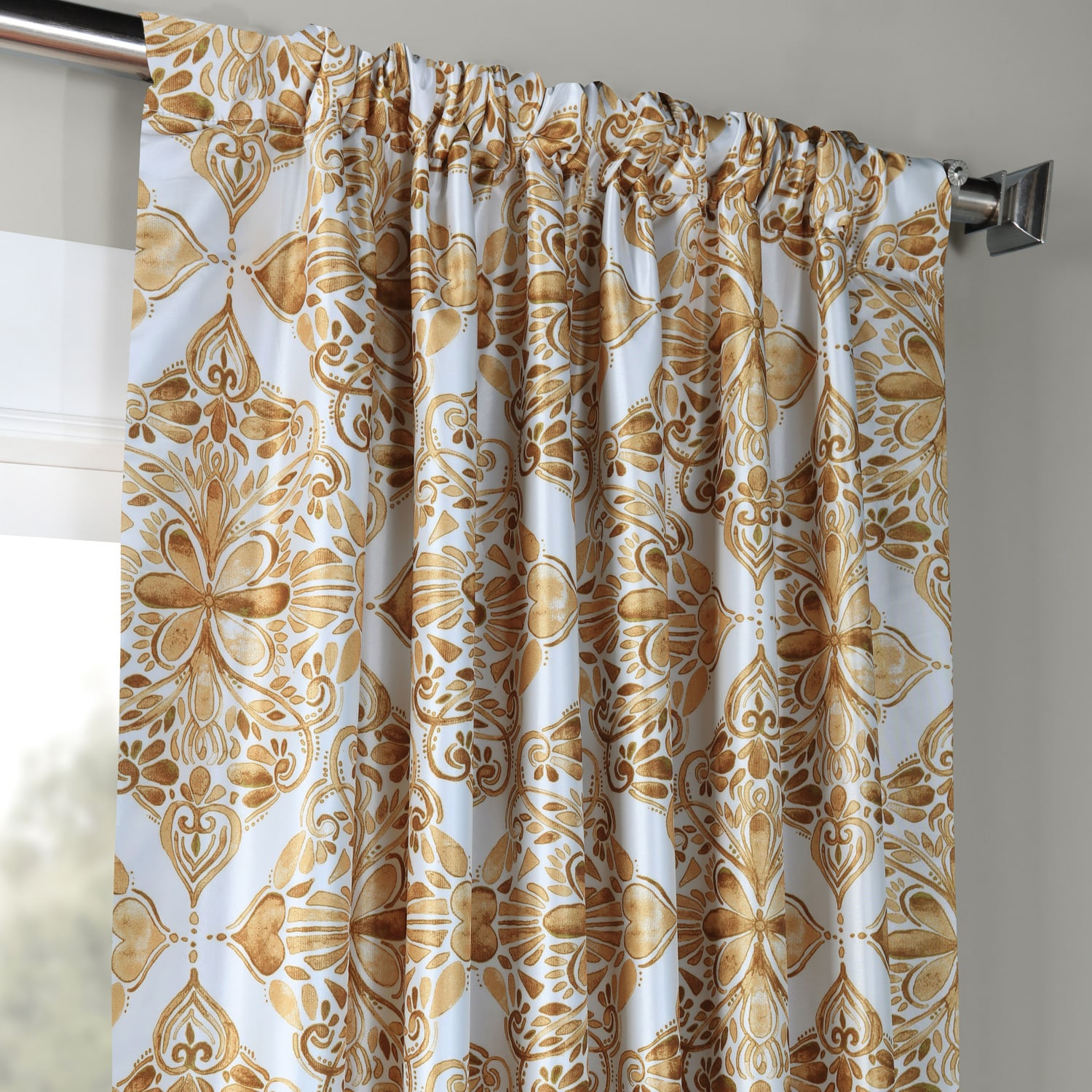 Tiera Gold Designer Printed Blackout Curtain