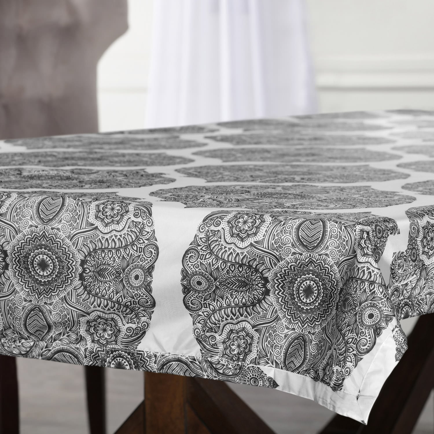 Royal Grey Designer Faux Silk Taffeta Outdoor Table Cloth