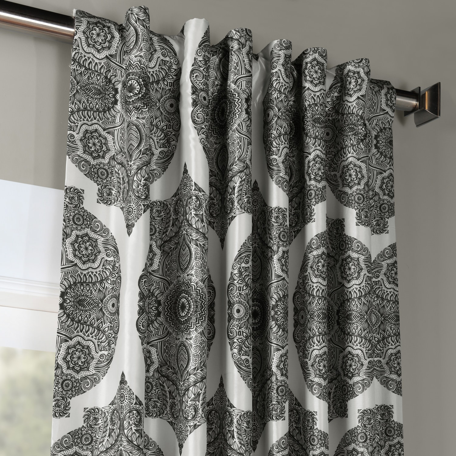 Royal Grey Printed Faux Silk Taffeta Blackout Curtain