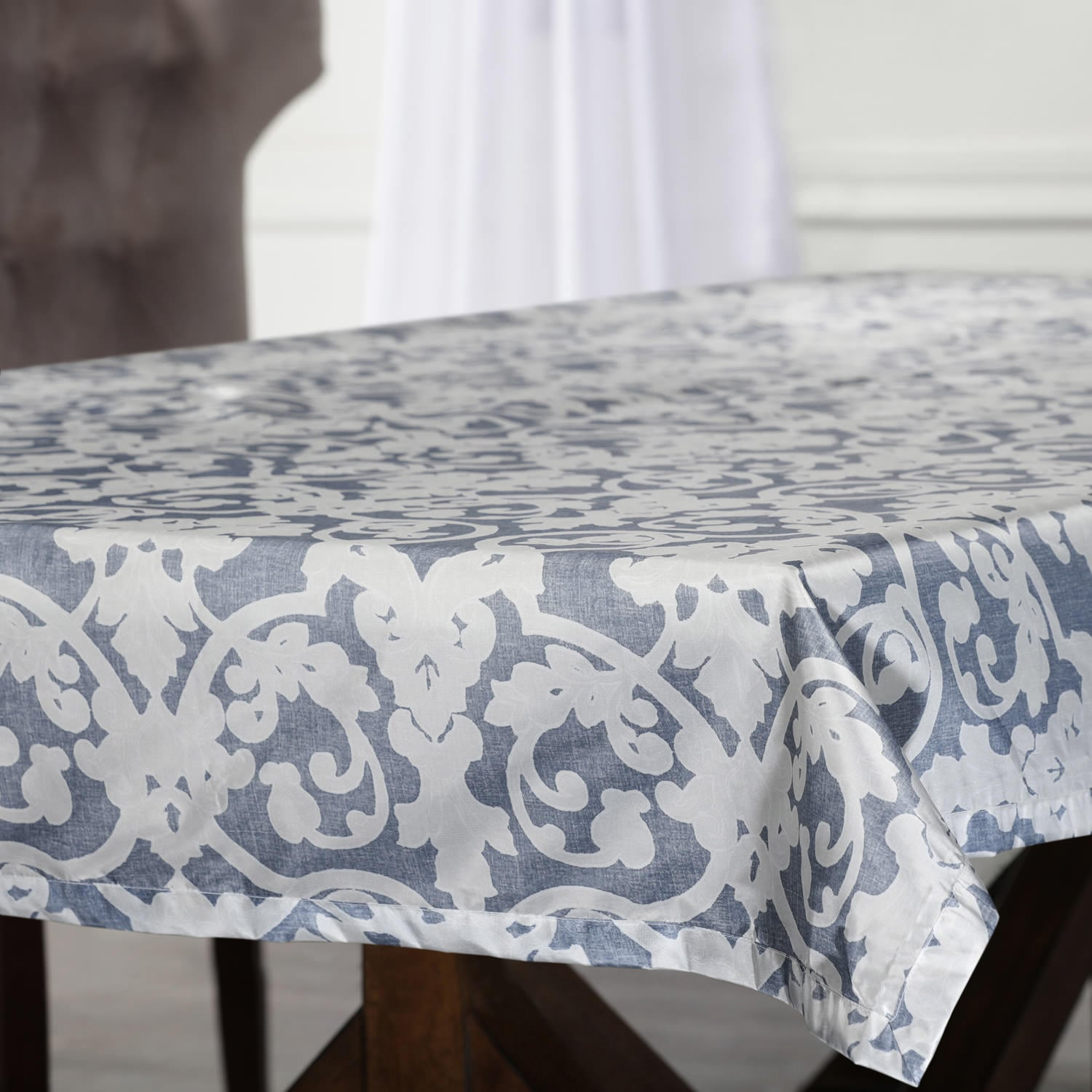 Rococo Blue Designer Faux Silk Taffeta Outdoor Table Cloth
