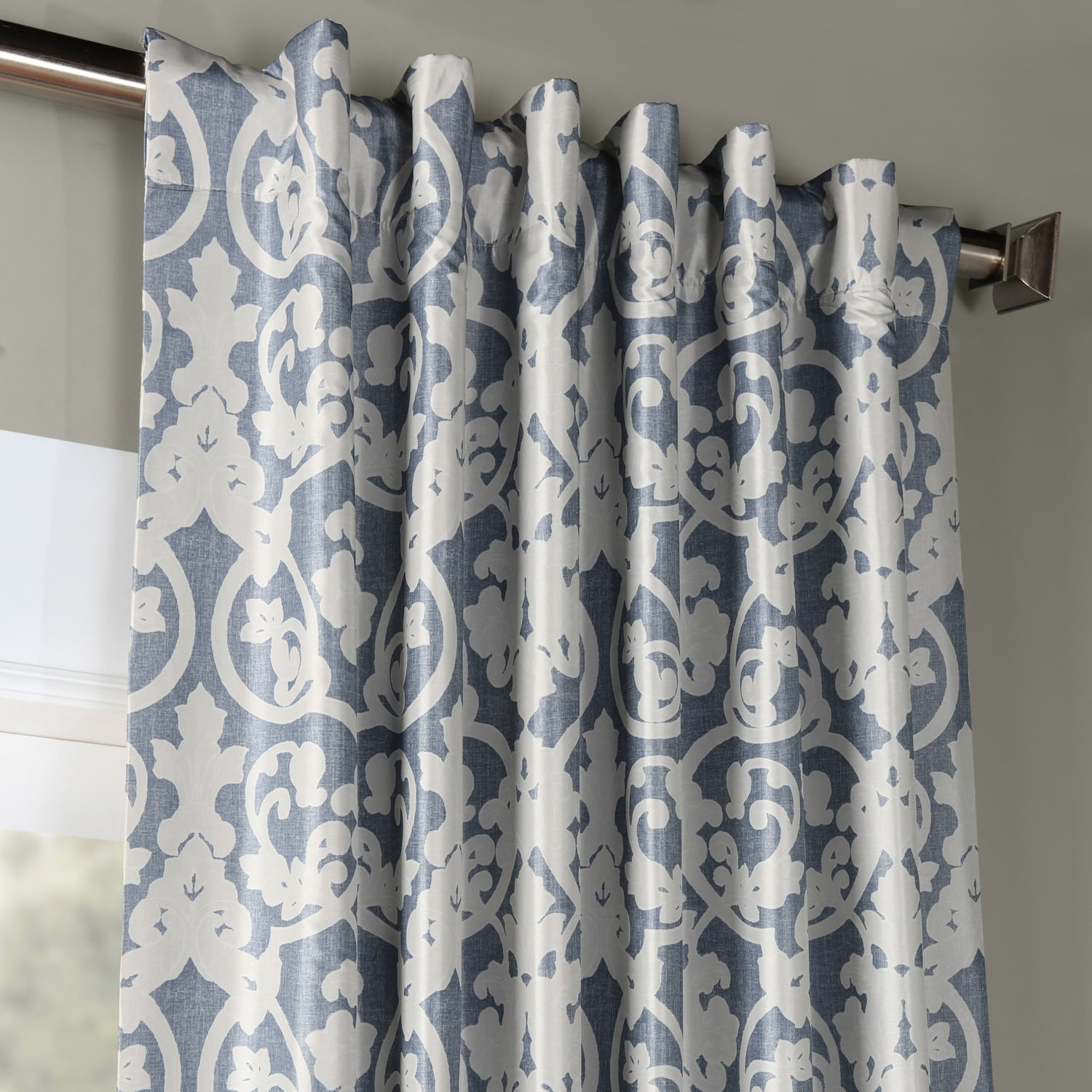 Rococo Blue Printed Faux Silk Taffeta Blackout Curtain