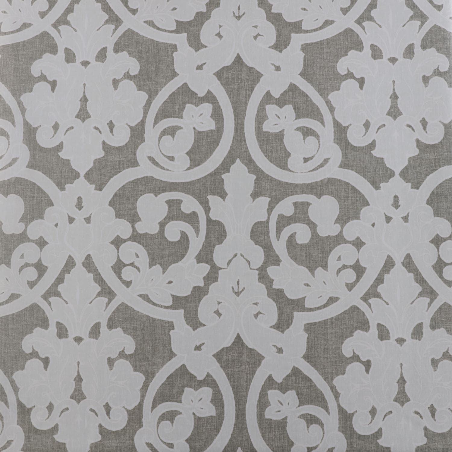 Rococo Grey Printed Faux Silk Taffeta Blackout Swatch