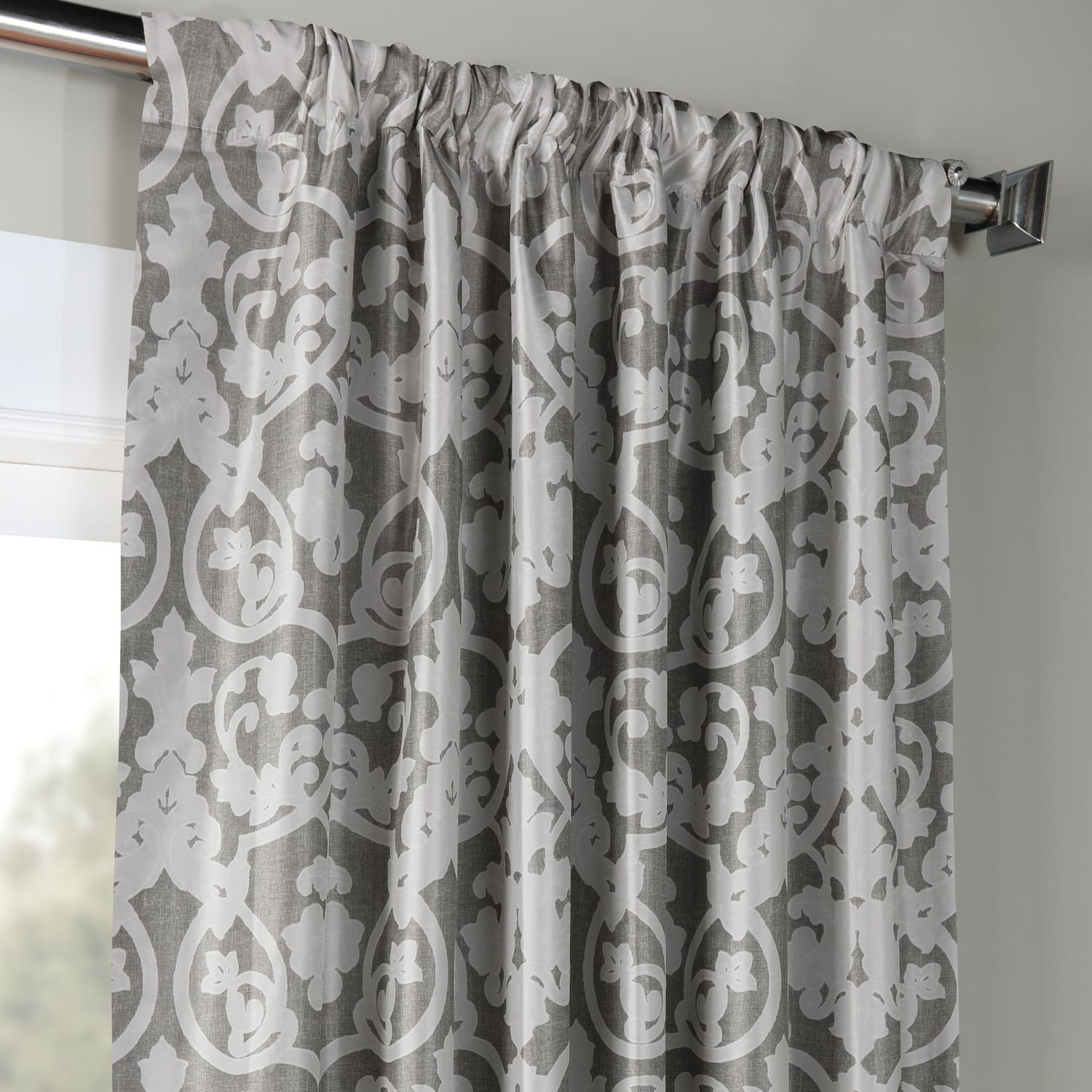 Rococo Grey Printed Faux Silk Taffeta Blackout Curtain