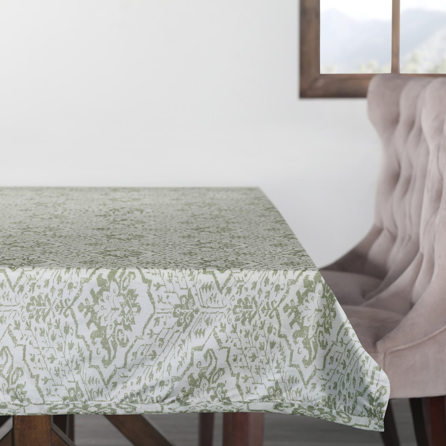 Tabriz Green Designer Faux Silk Taffeta Outdoor Table Cloth