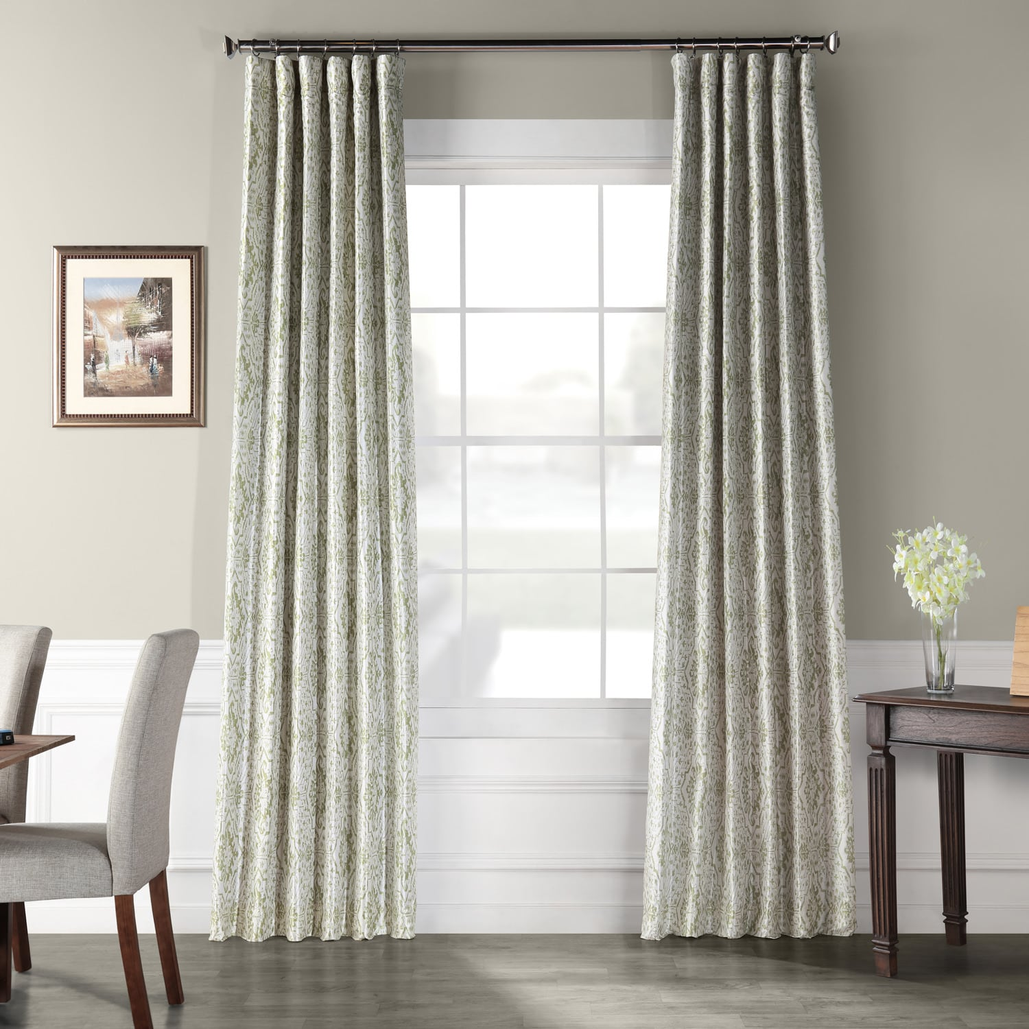 Tabriz Green Printed Faux Silk Taffeta Blackout Curtain