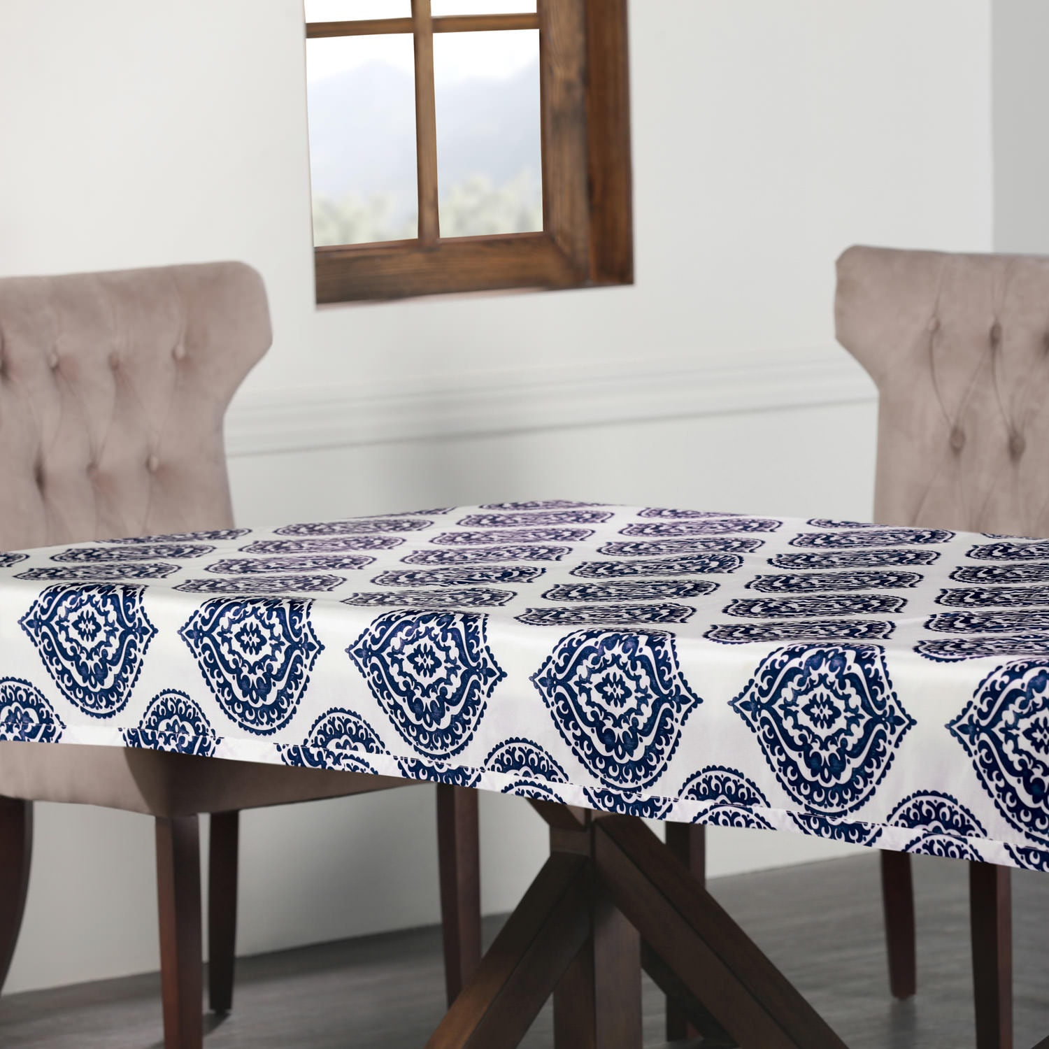 Donegal Blue Designer Faux Silk Taffeta Outdoor Table Cloth