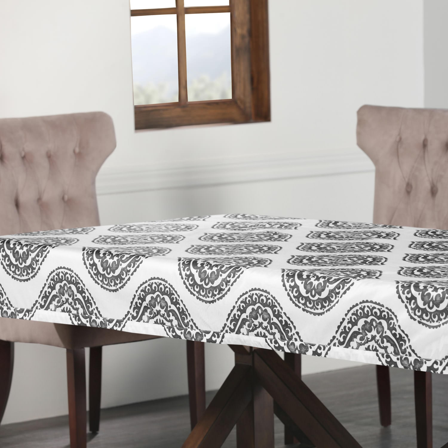 Donegal Grey Designer Faux Silk Taffeta Outdoor Table Cloth