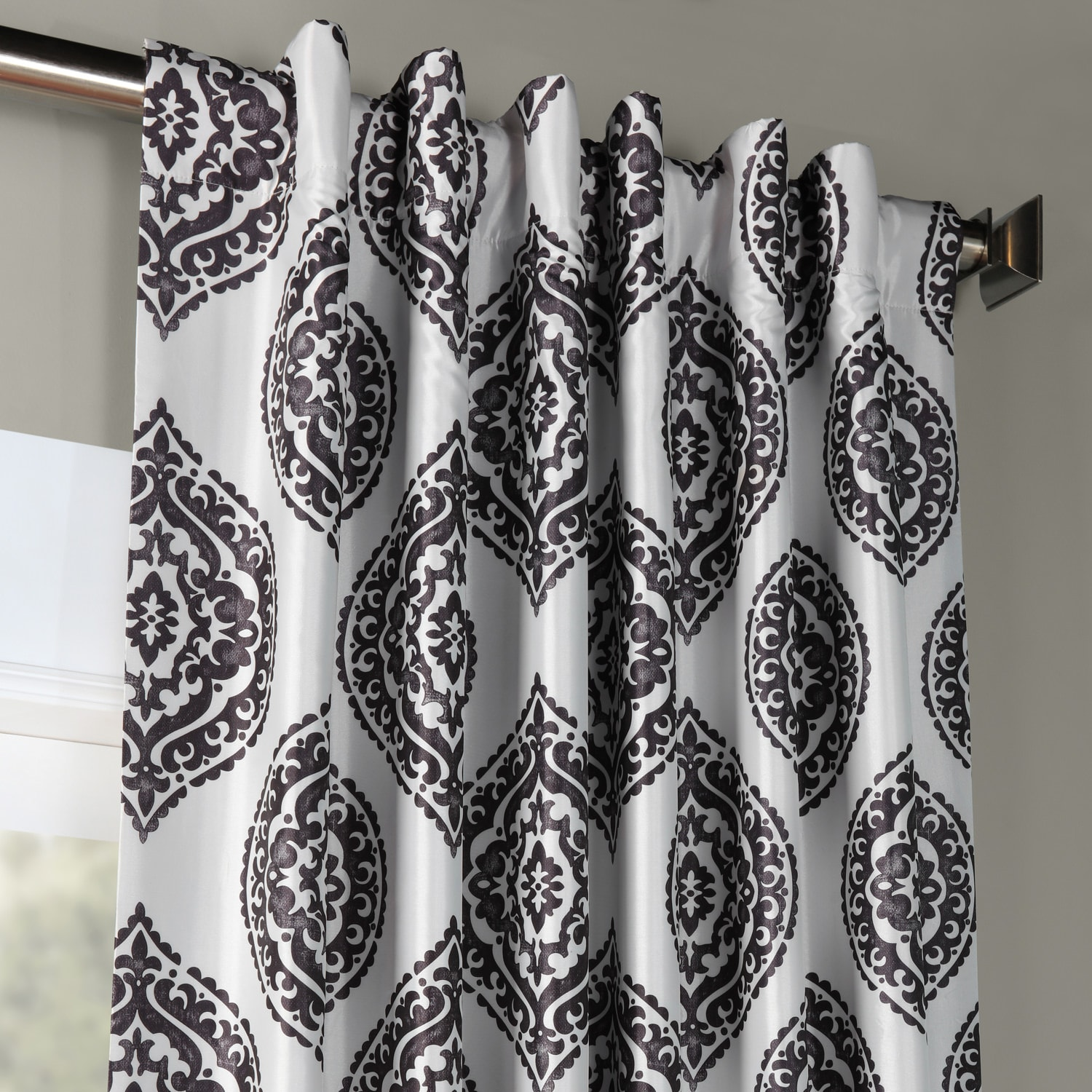 Donegal Grey Printed Faux Silk Taffeta Blackout Curtain