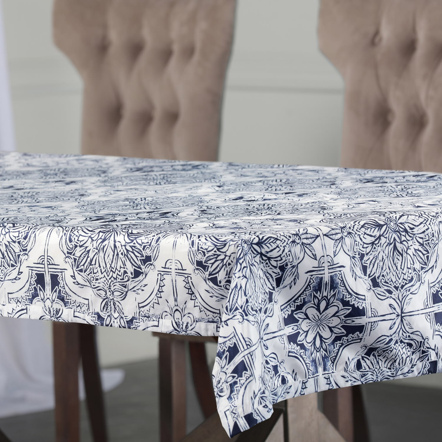 Delft Blue Designer Faux Silk Taffeta Outdoor Table Cloth