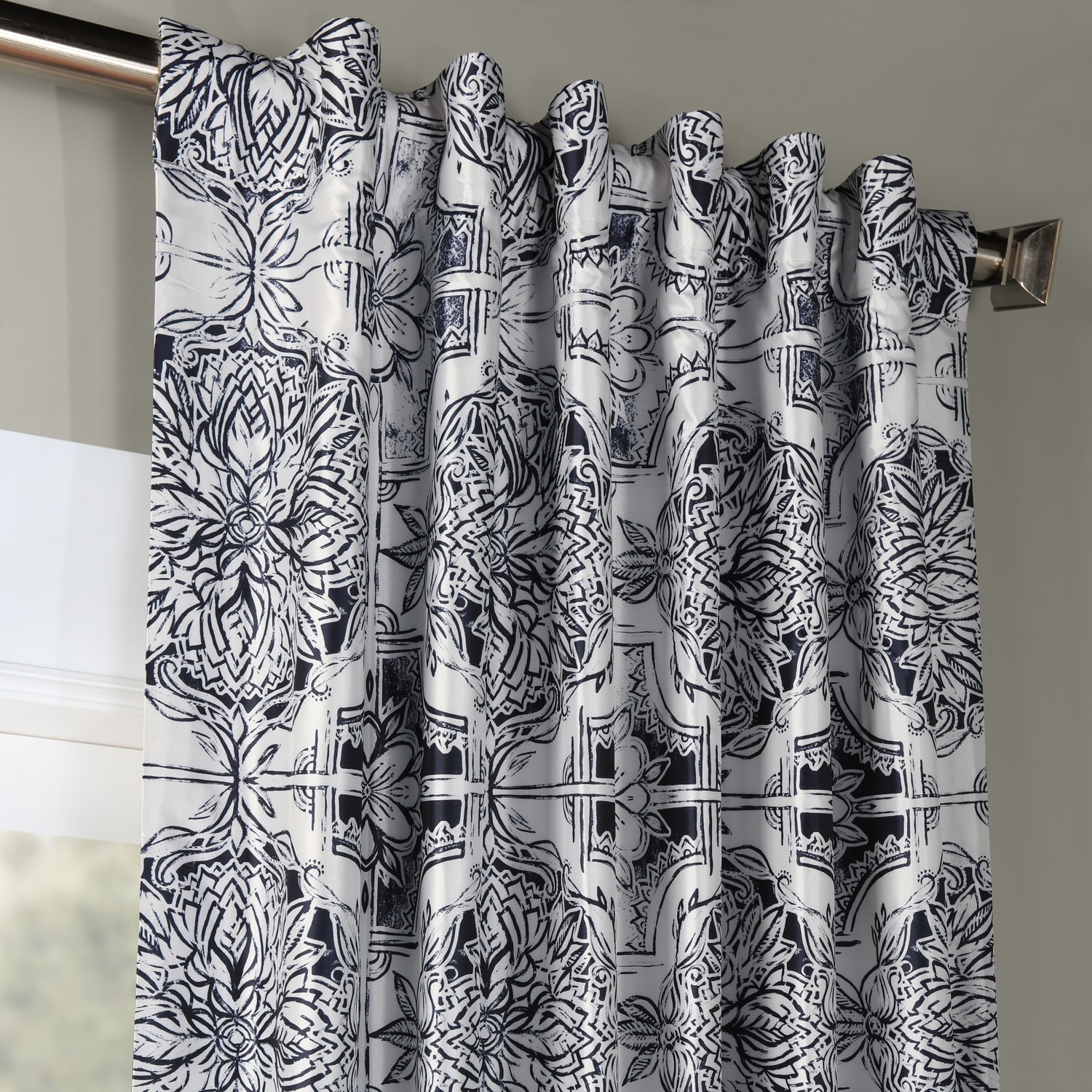 Delft Blue Designer Printed Blackout Curtain