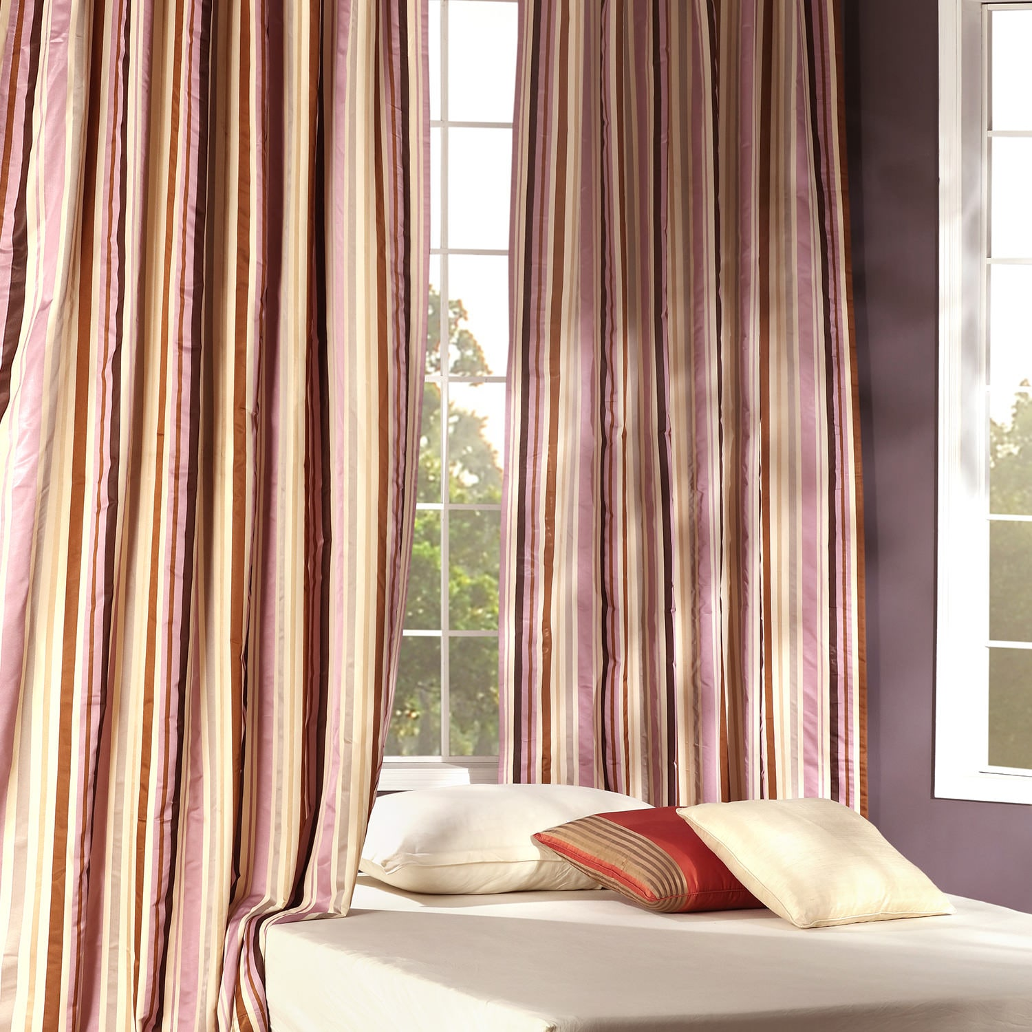 Milton Purple & Gold Designer Striped Faux Silk Curtain