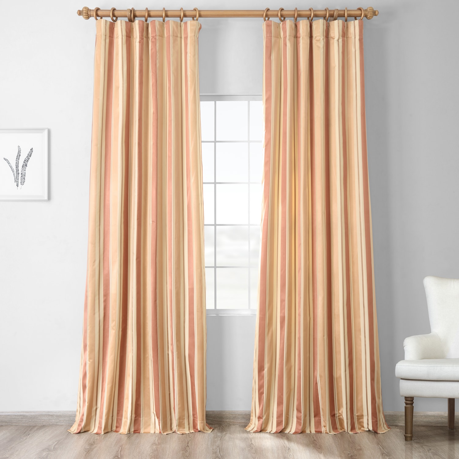 Oakmere Designer Striped Faux Silk Curtain