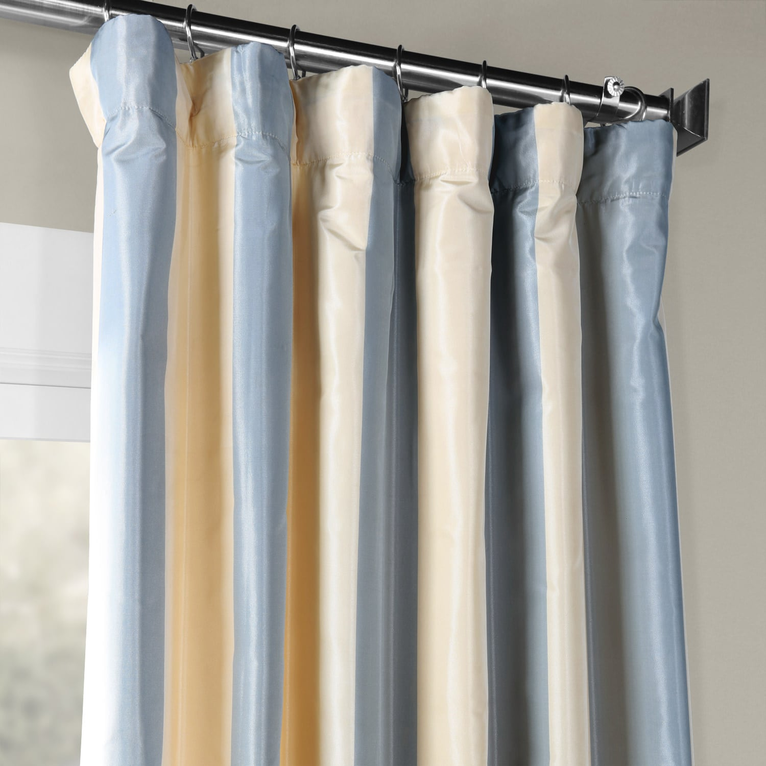 Hampton Faux Silk Taffeta Stripe Curtain