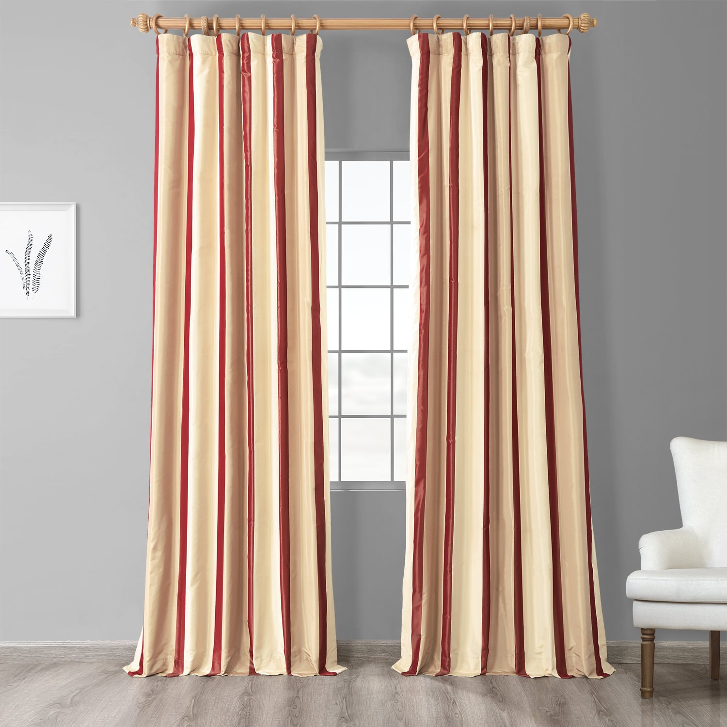 Manchester Gold & Red Designer Striped Faux Silk Curtain