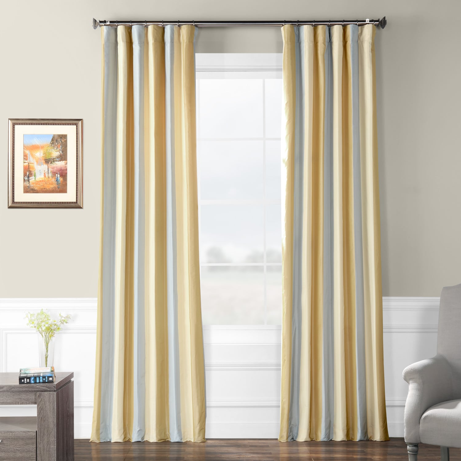 Walcot Faux Silk Stripe Curtain