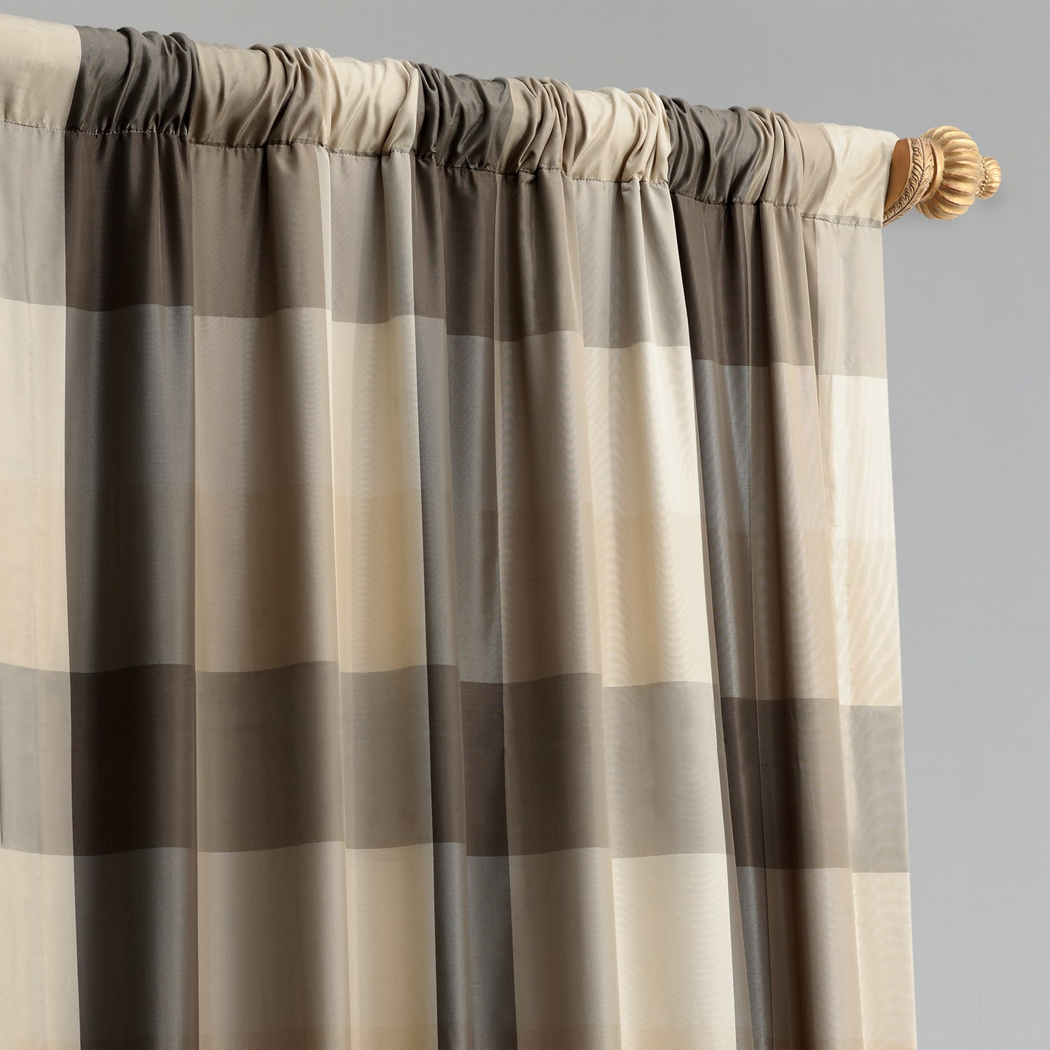 Sutton Taupe & Gold Designer Faux Silk Plaid Curtain