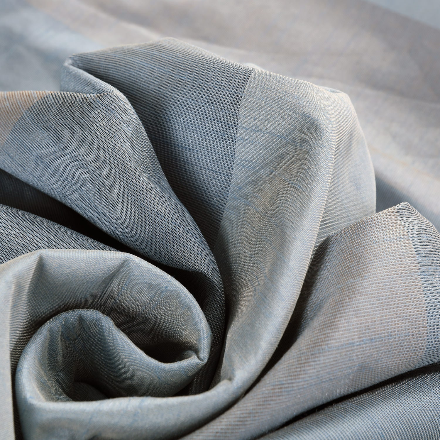 Eaton Blue & Grey Luxury Faux Silk Striped Swatch