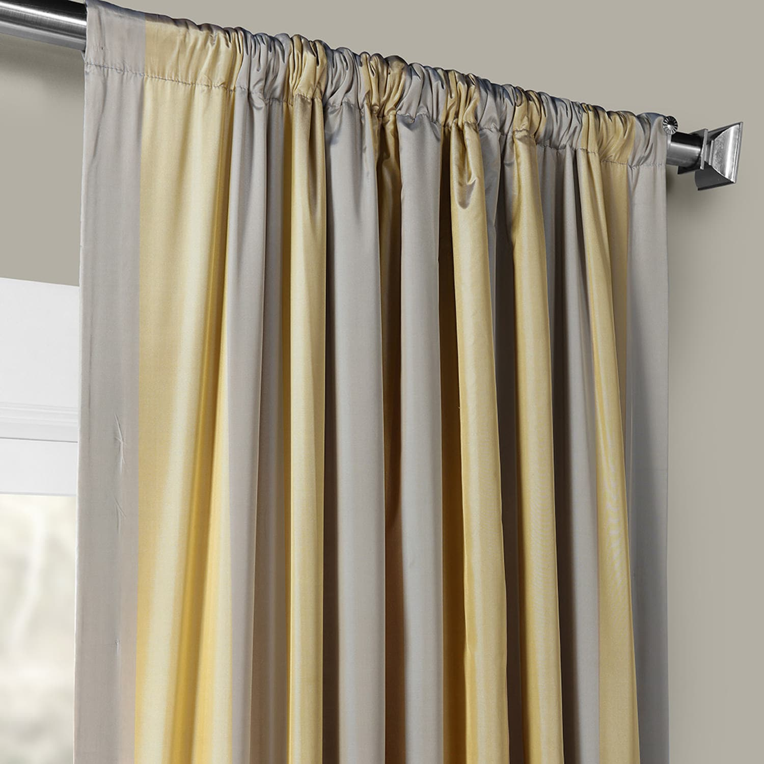 Riviera Designer Striped Faux Silk Curtain