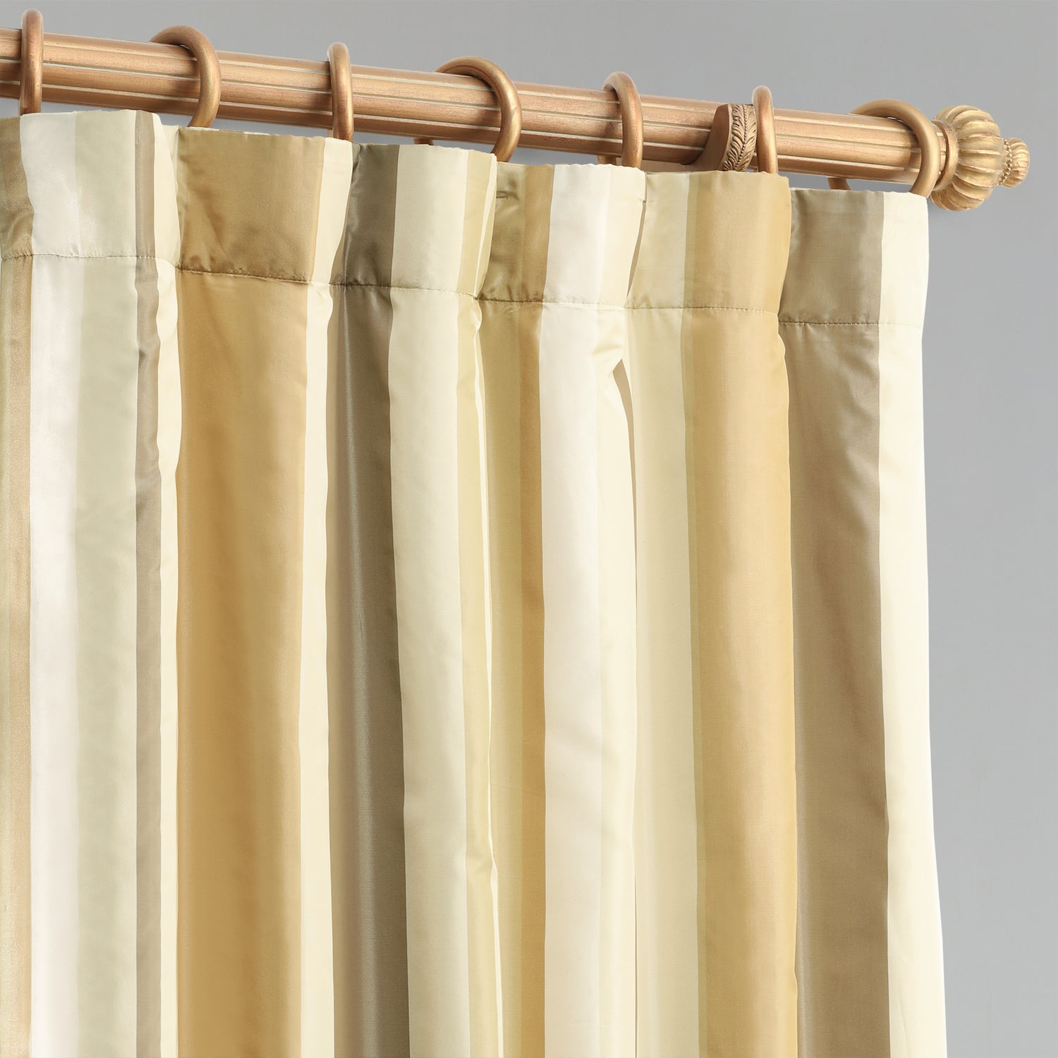 Norfolk Taupe & Gold Designer Striped Faux Silk Curtain