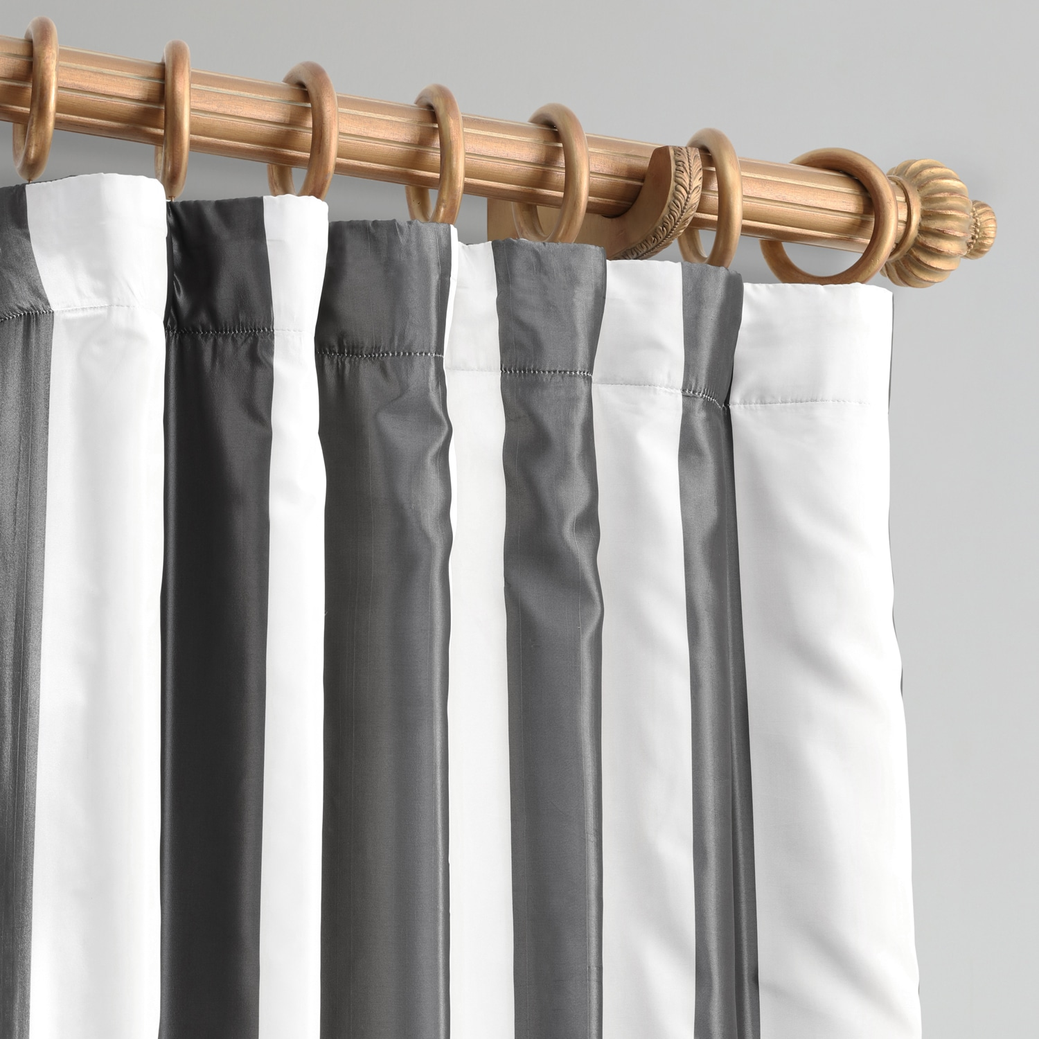 Presidio White & Charcoal Designer Striped Faux Silk Curtain