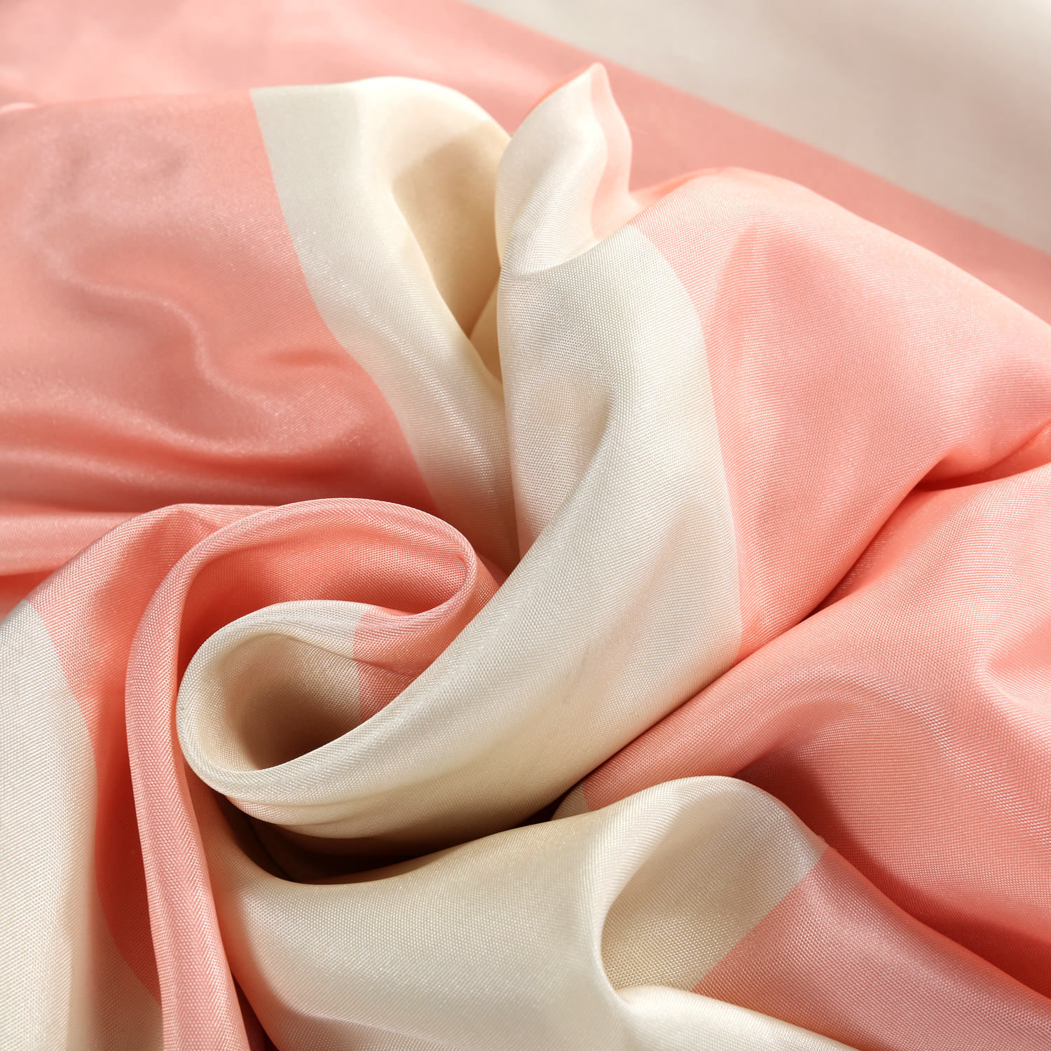 Annabelle Pink & Off White Designer Striped Faux Silk Swatch