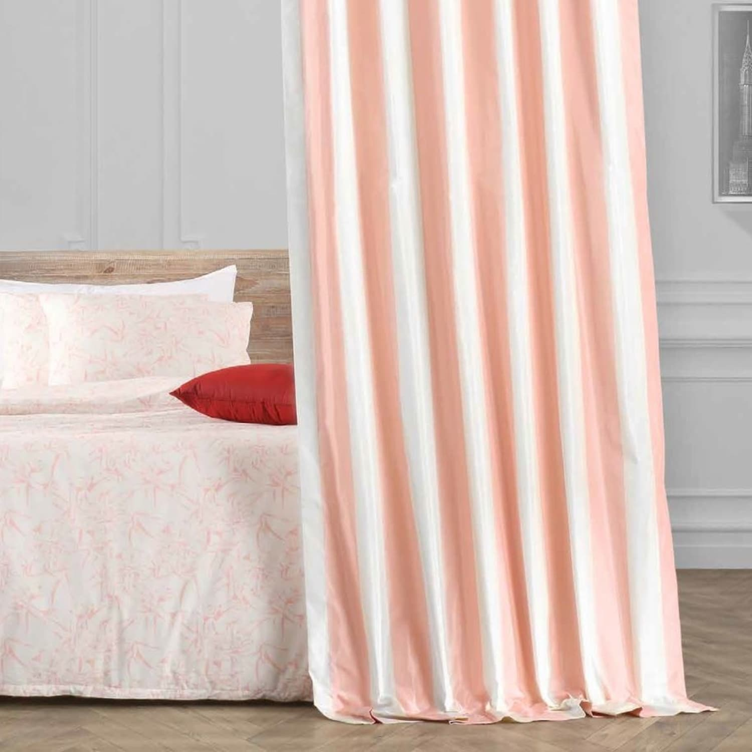 Annabelle Faux Silk Taffeta Stripe Curtain