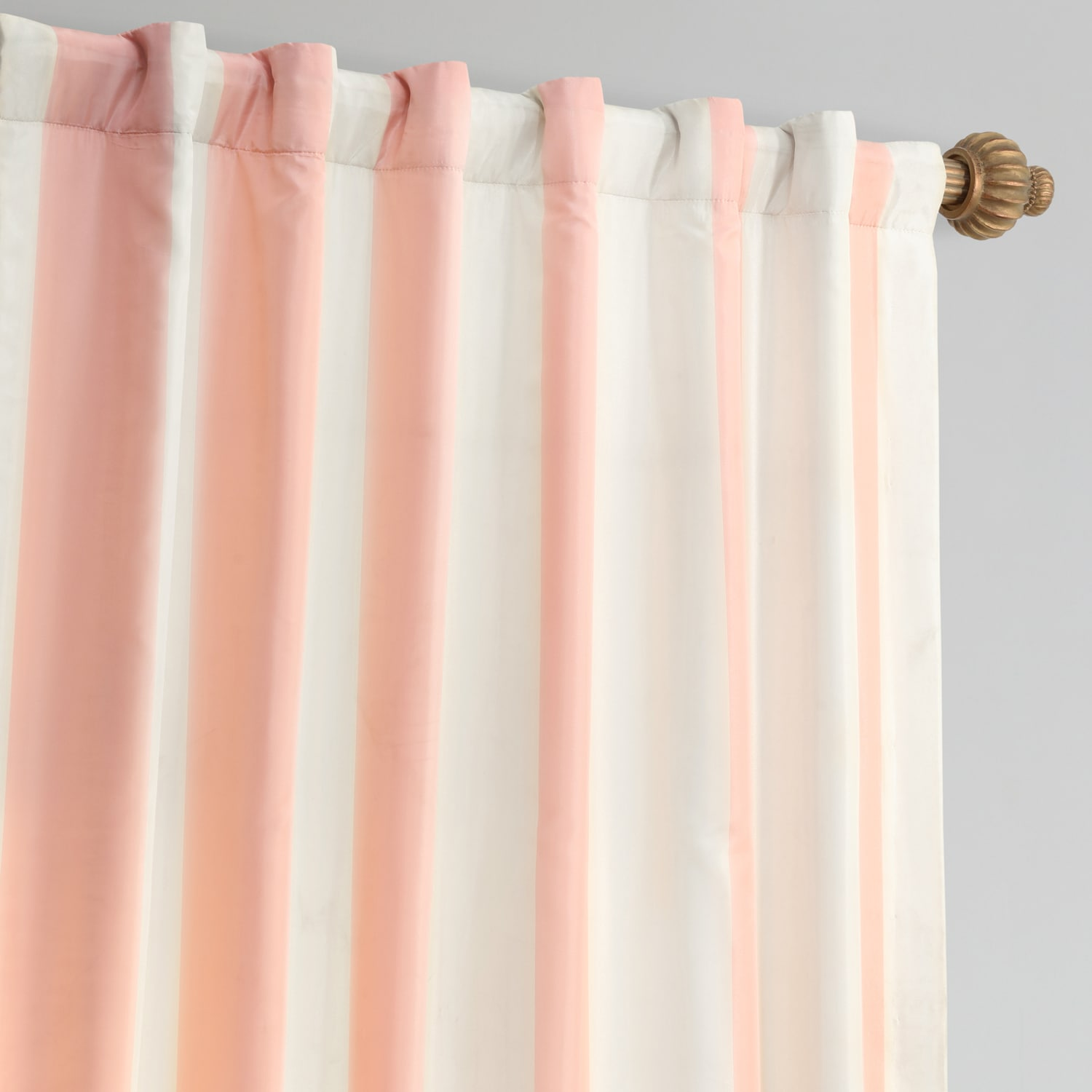Annabelle Pink & Off White Designer Striped Faux Silk Curtain