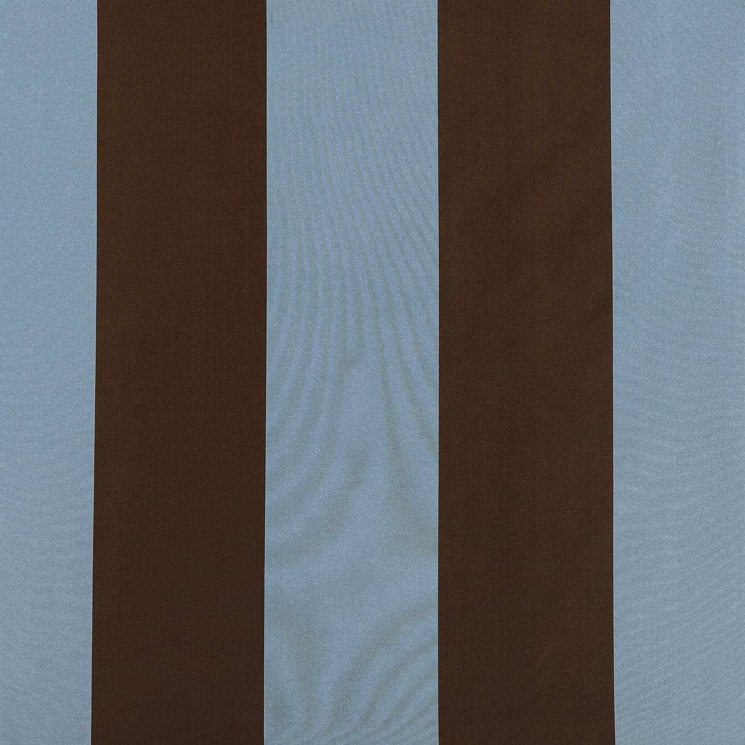 Crockett Blue & Brown Designer Striped Faux Silk Fabric