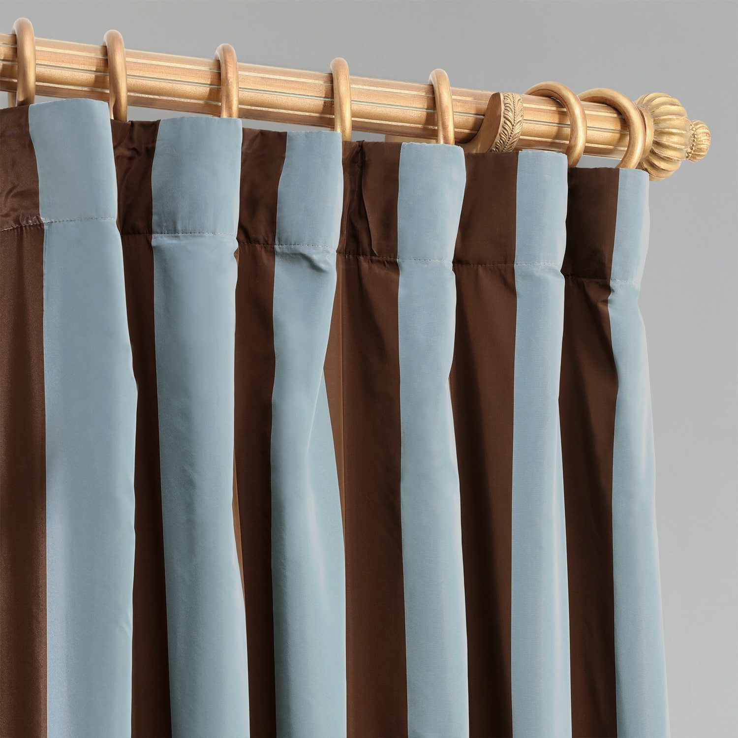 Crockett Blue & Brown Designer Striped Faux Silk Curtain