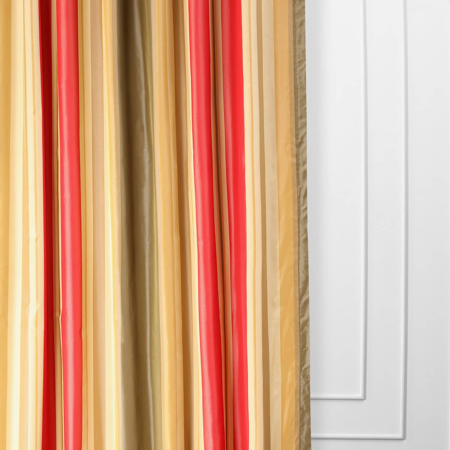 Orleans Bright Red & Gold Designer Striped Faux Silk Curtain
