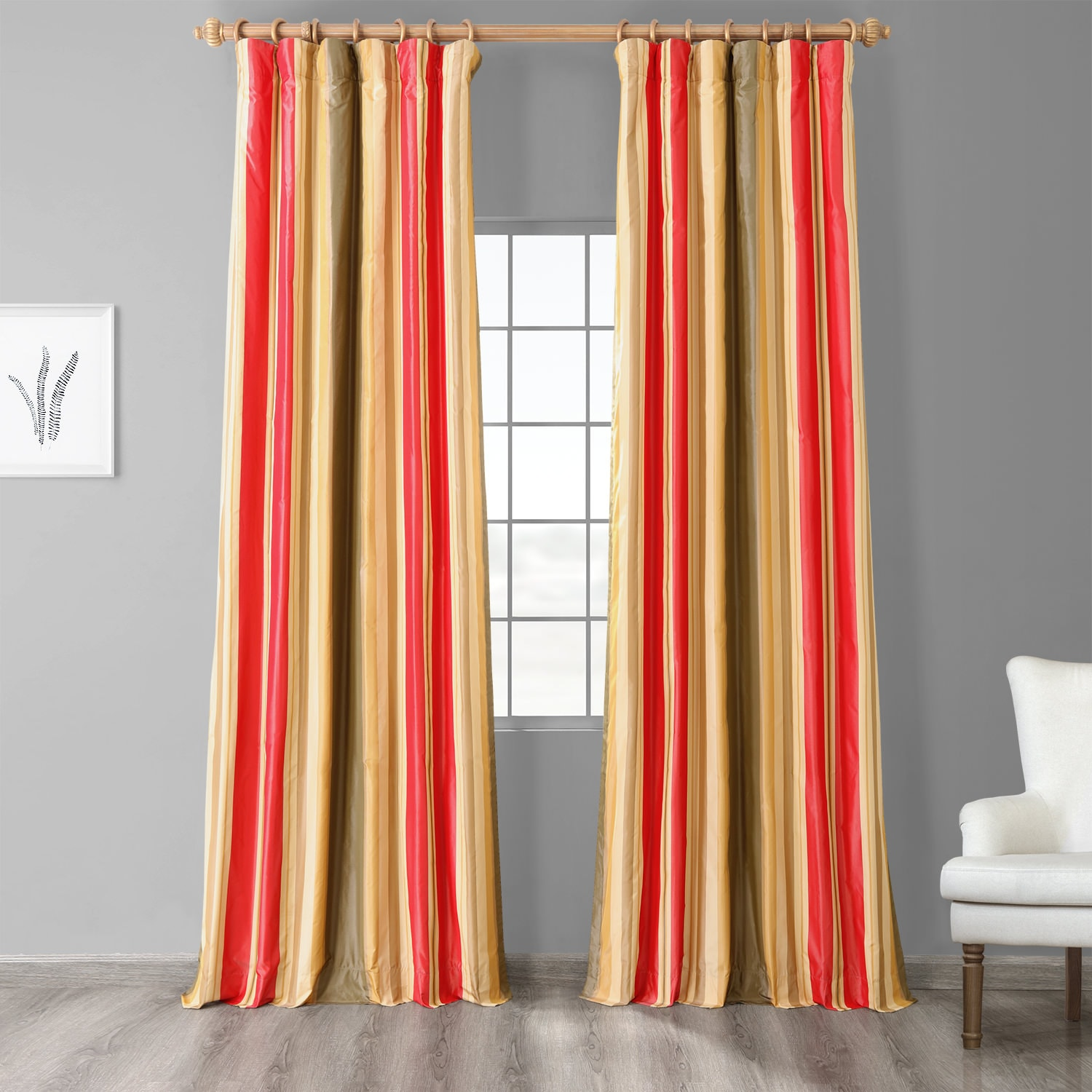 Orleans Bright Red & Gold Luxury Faux Silk Striped Curtain