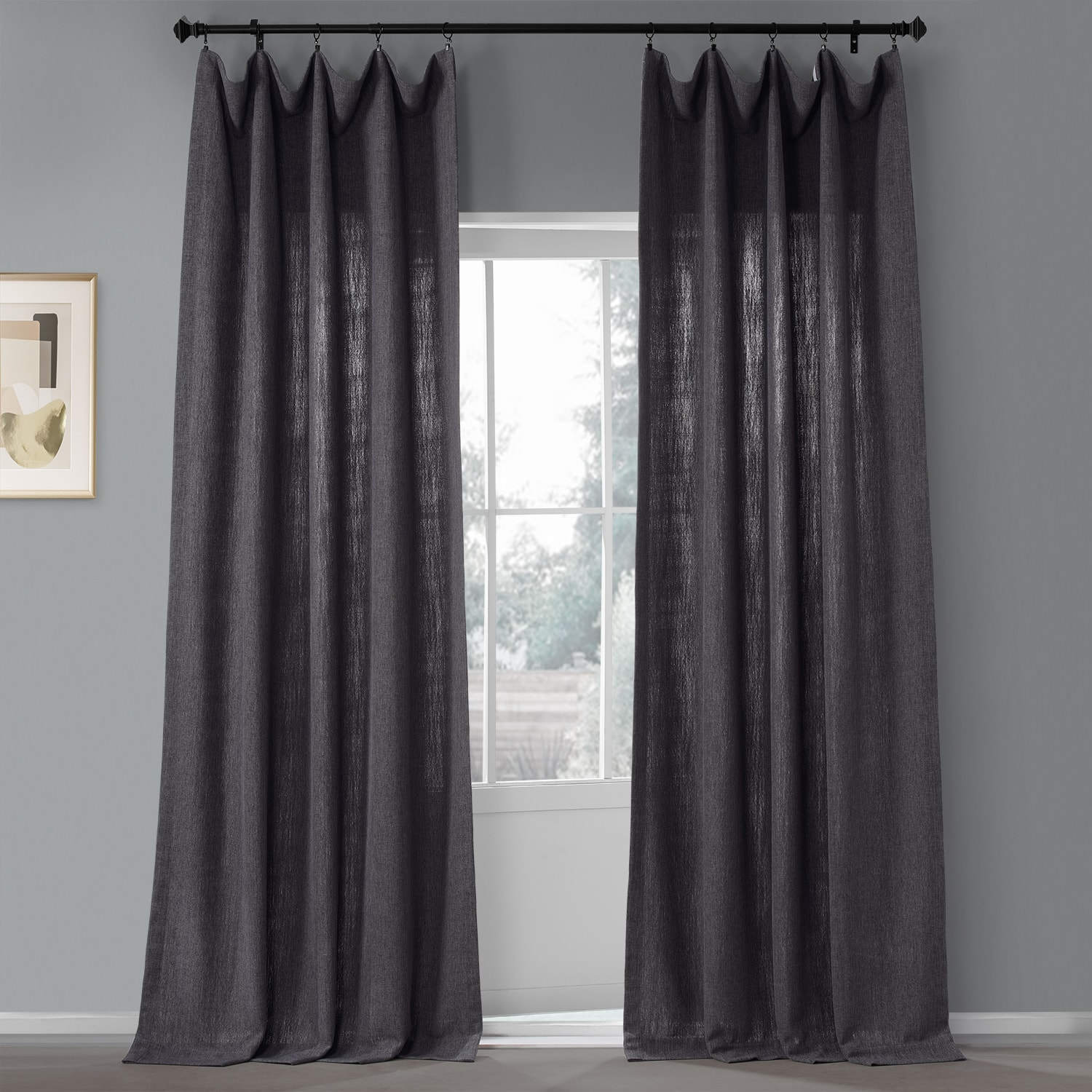Nightshade Grey Pebble Weave Faux Linen Curtain