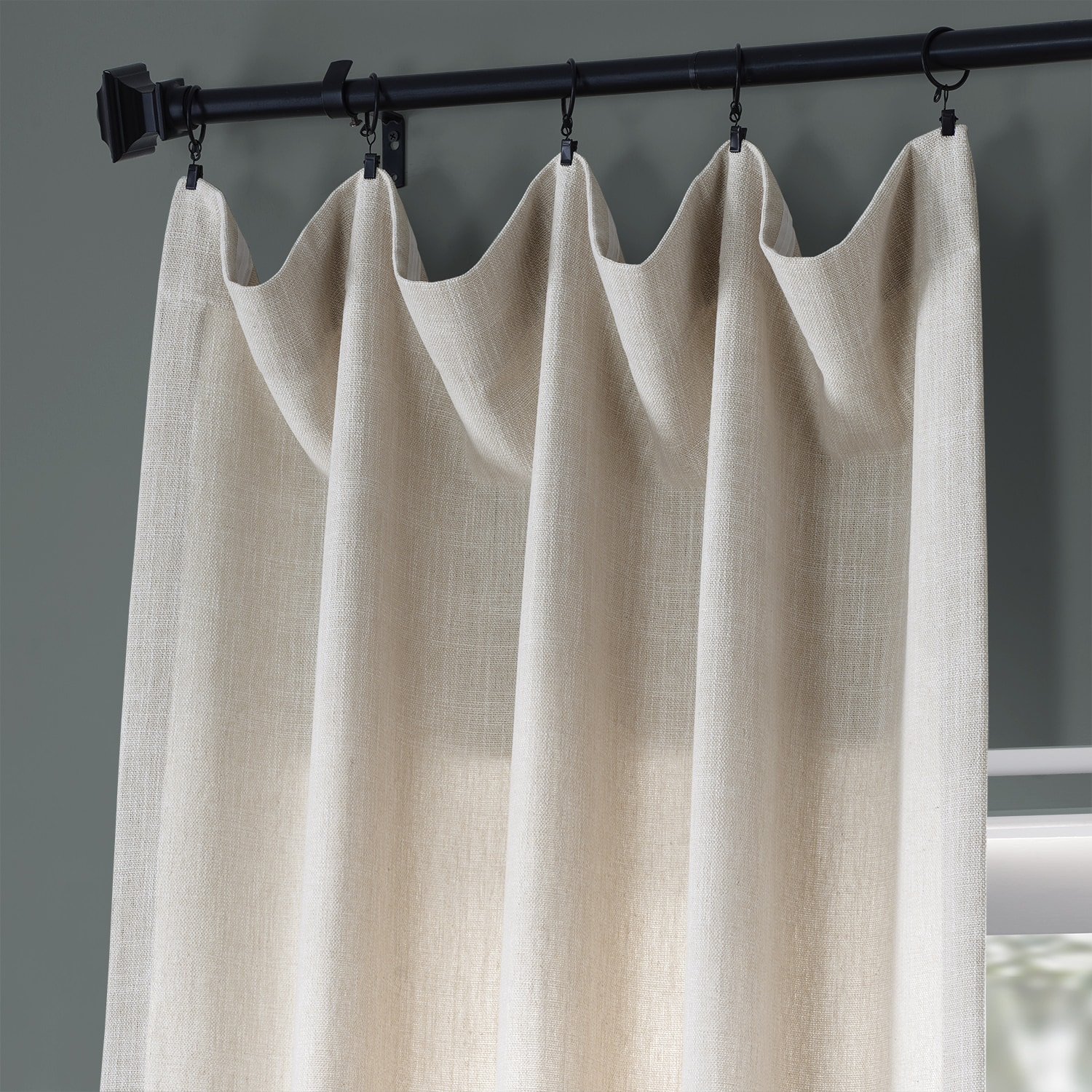 Country Cream Pebble Weave Faux Linen Curtain