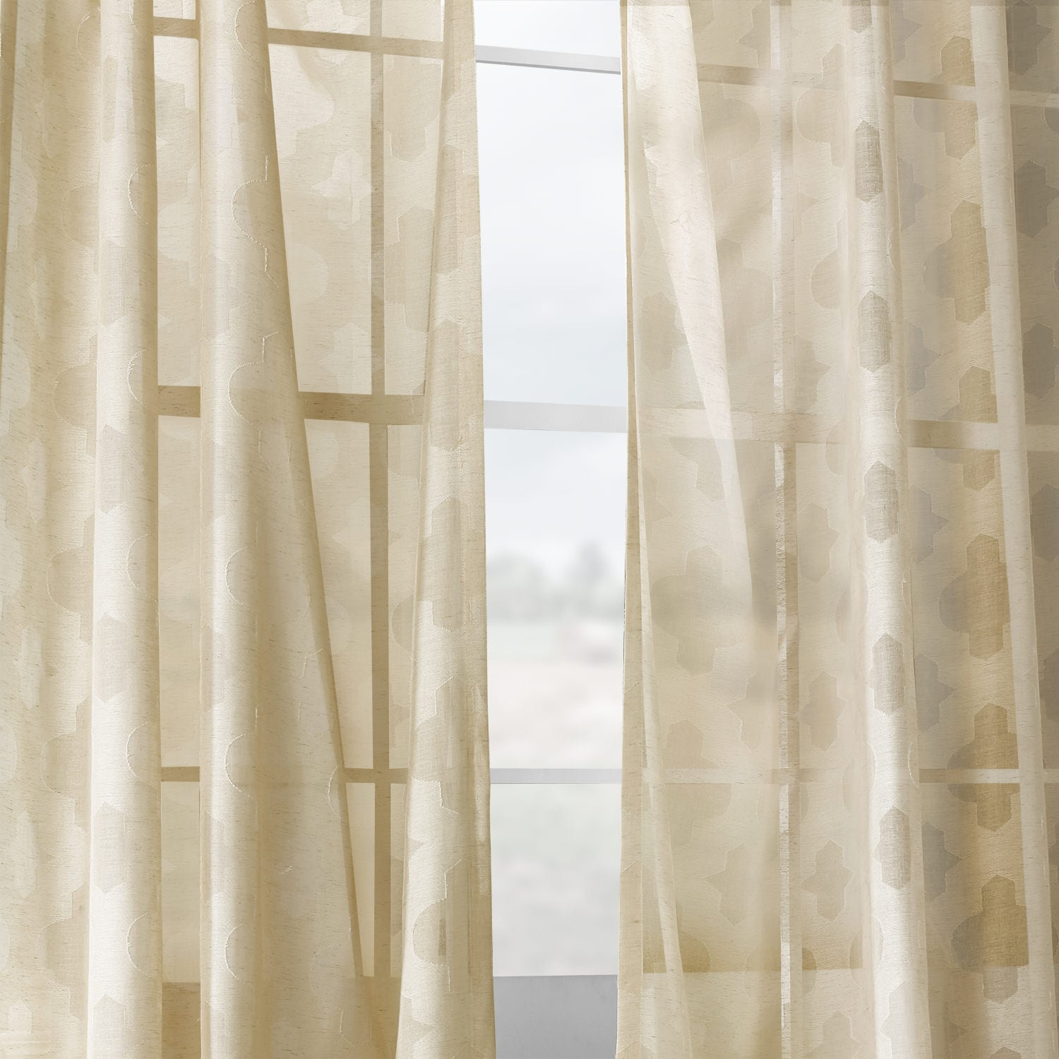 Calais Tile Beige Patterned Linen Sheer Curtain